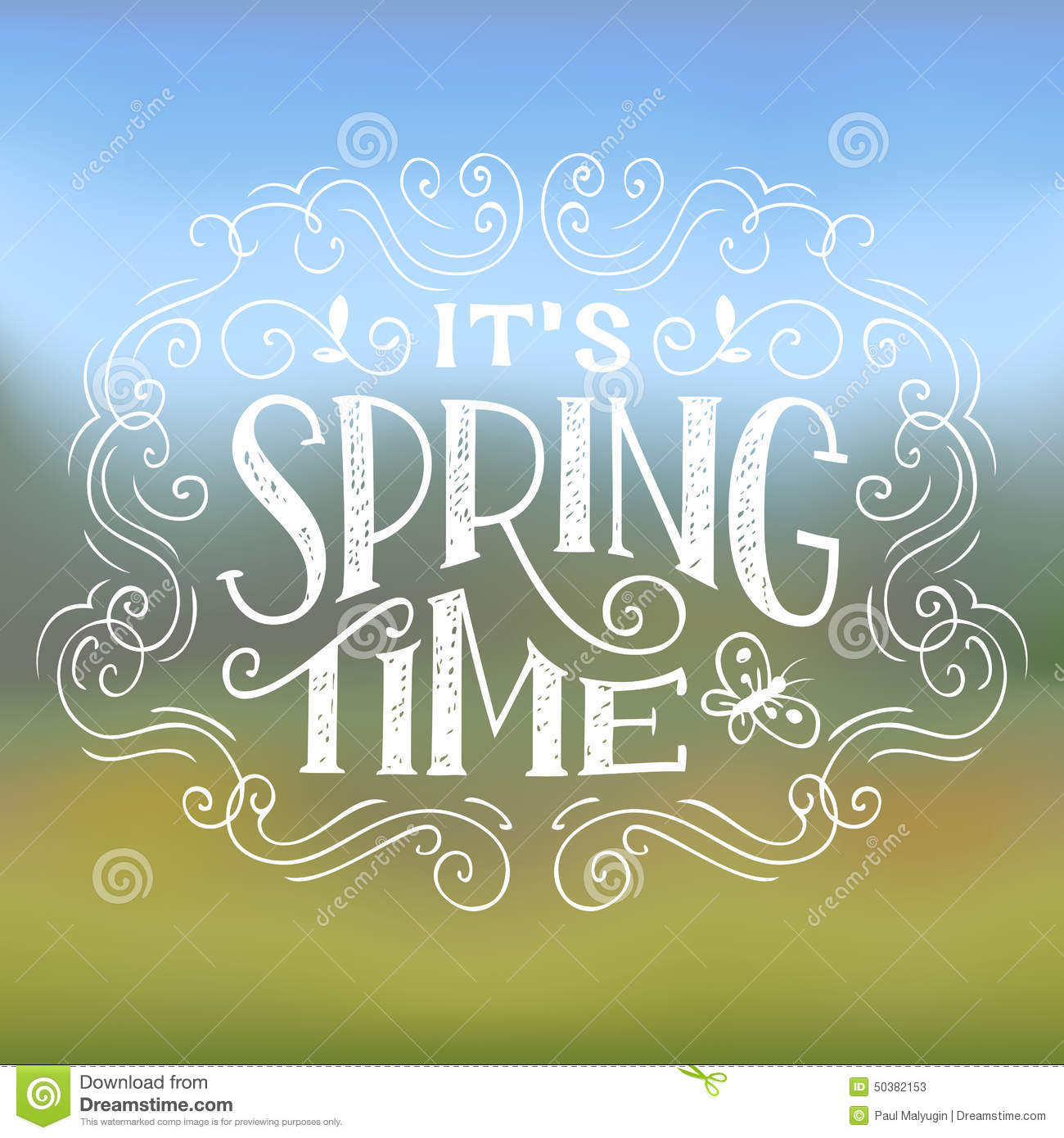 It's Spring Time. Hand-lettering typographic design on nature background