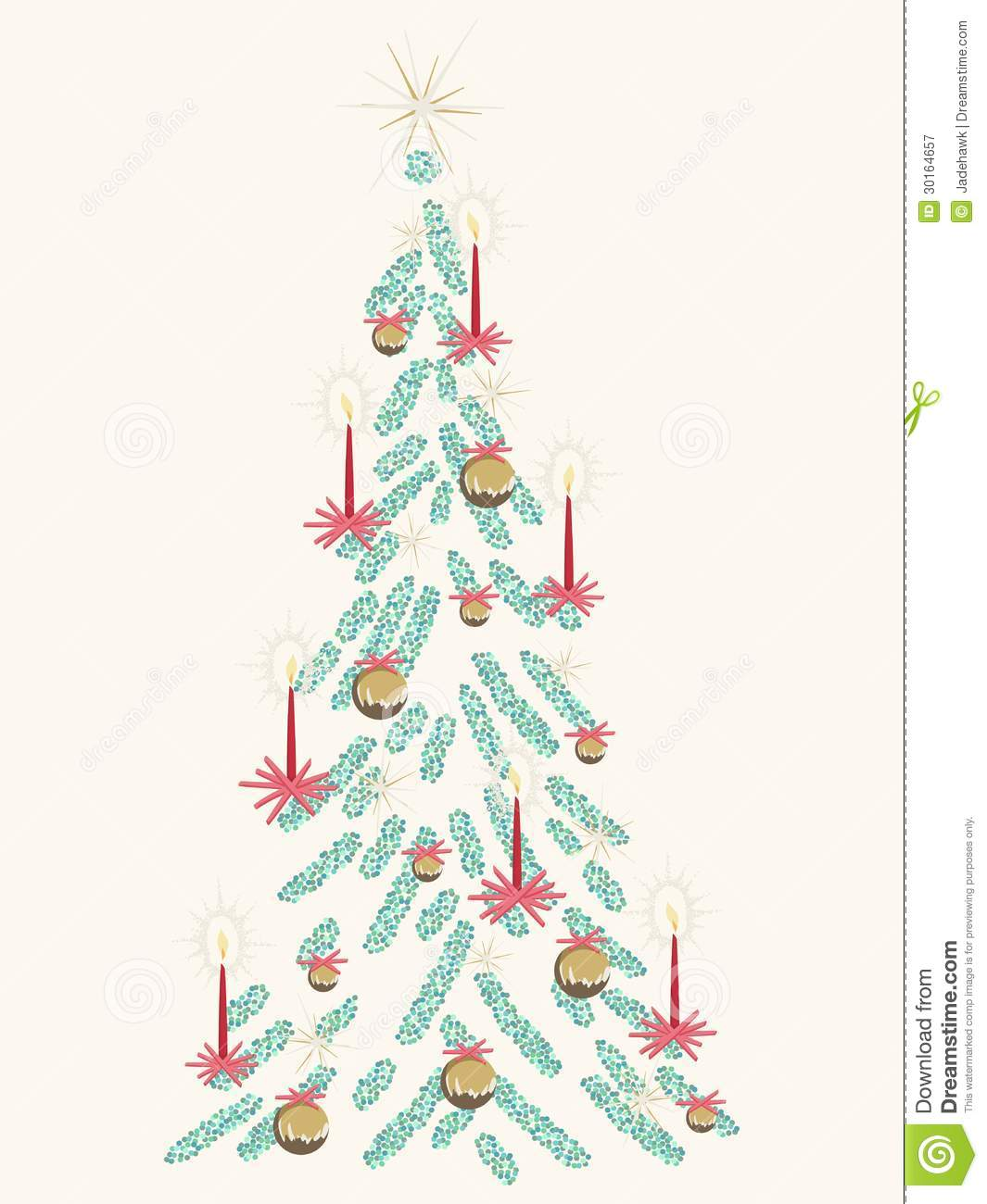 Retro christmas tree card stock vector image of gold