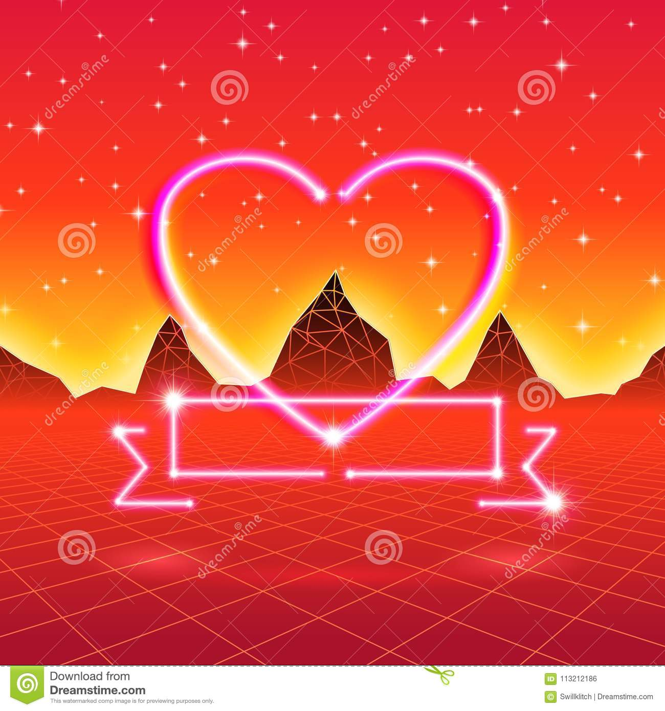 80s styled retro futuristic card with neon heart in computer world 80s styled retro futuristic card with neon heart in computer world buycottarizona Choice Image