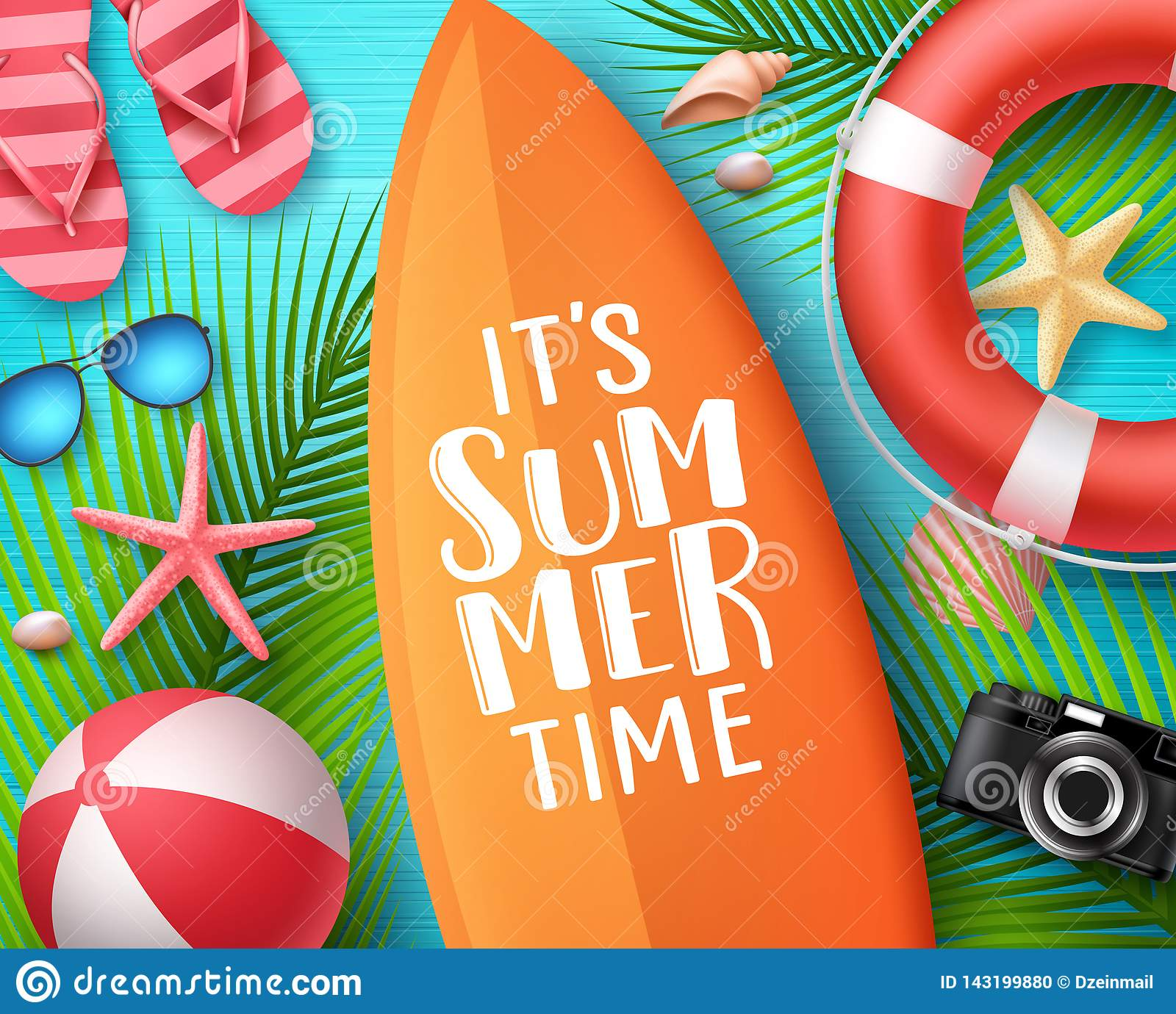 It`s summer time vector design concept. Summer text in surfboard with beach elements