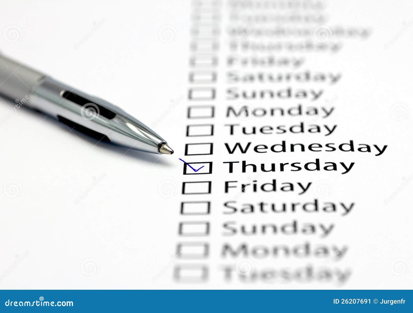 Desk Calendar Design : It s thursday today stock image