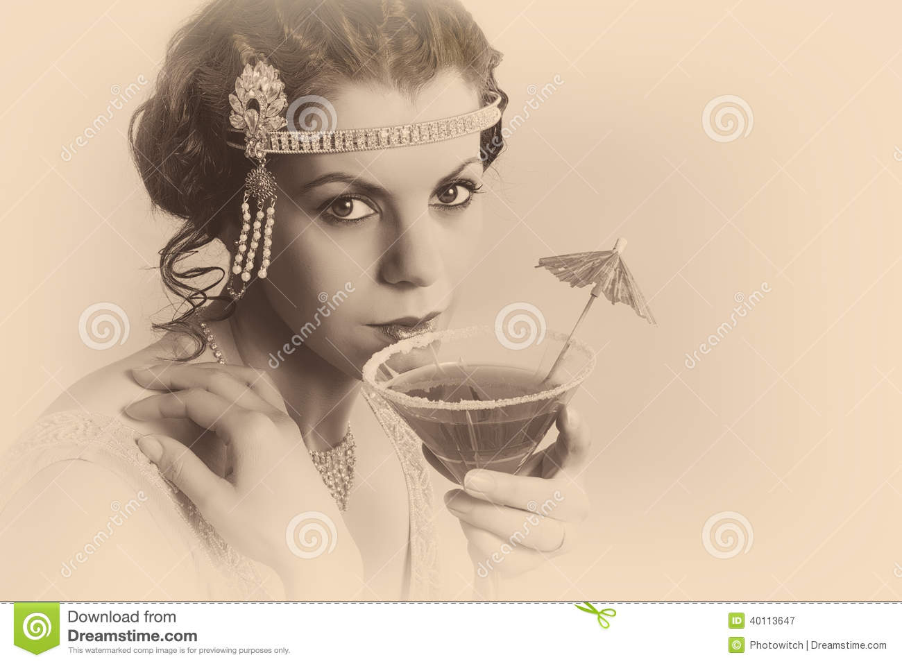 ... 1920s woman with headband and flapper dress drinking a cocktail