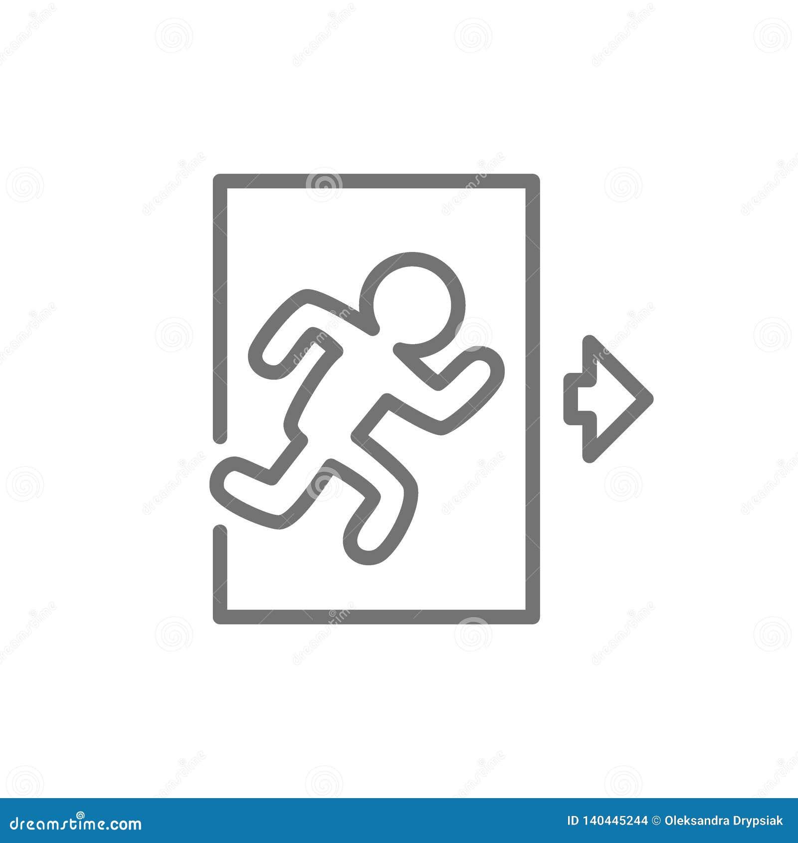 Saída de emergência, homem que corre para fora a linha ícone do sinal