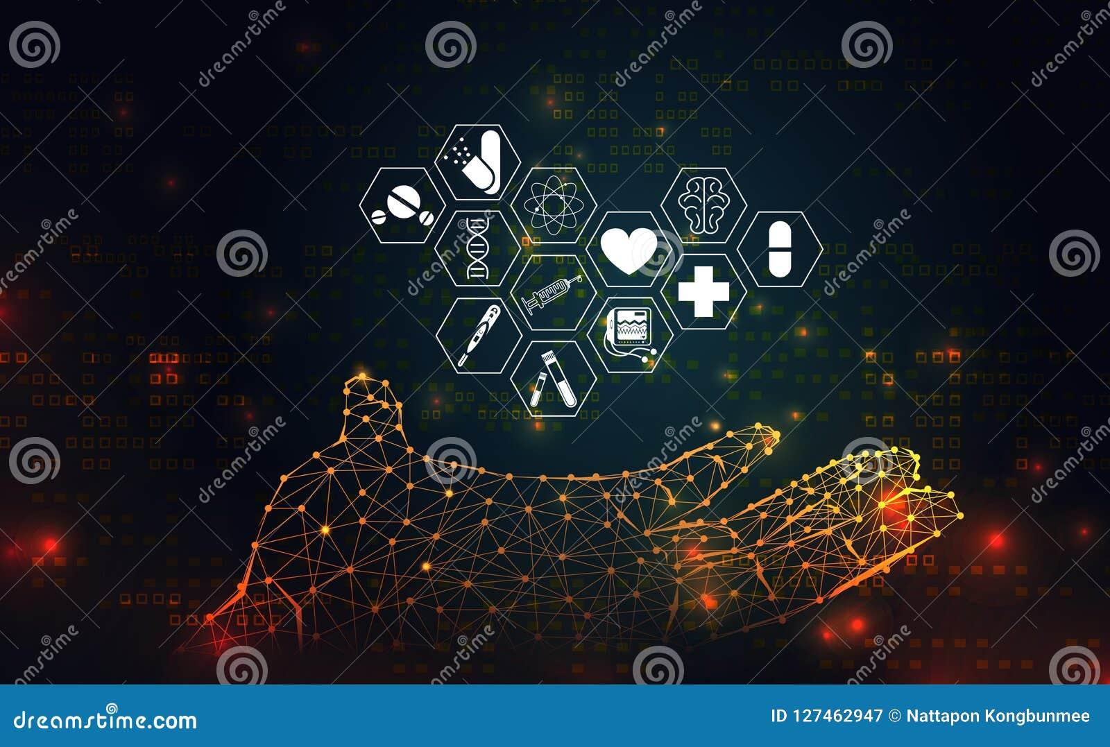 A saúde da ciência abstrata médica consiste ícone do wireframe da mão cura