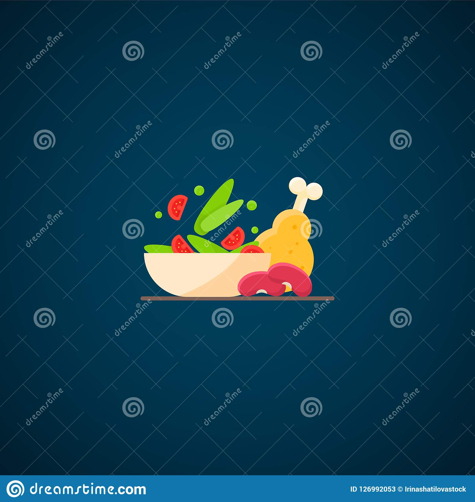 Sałata, kurczak, fasole dieta zdrowa dinner
