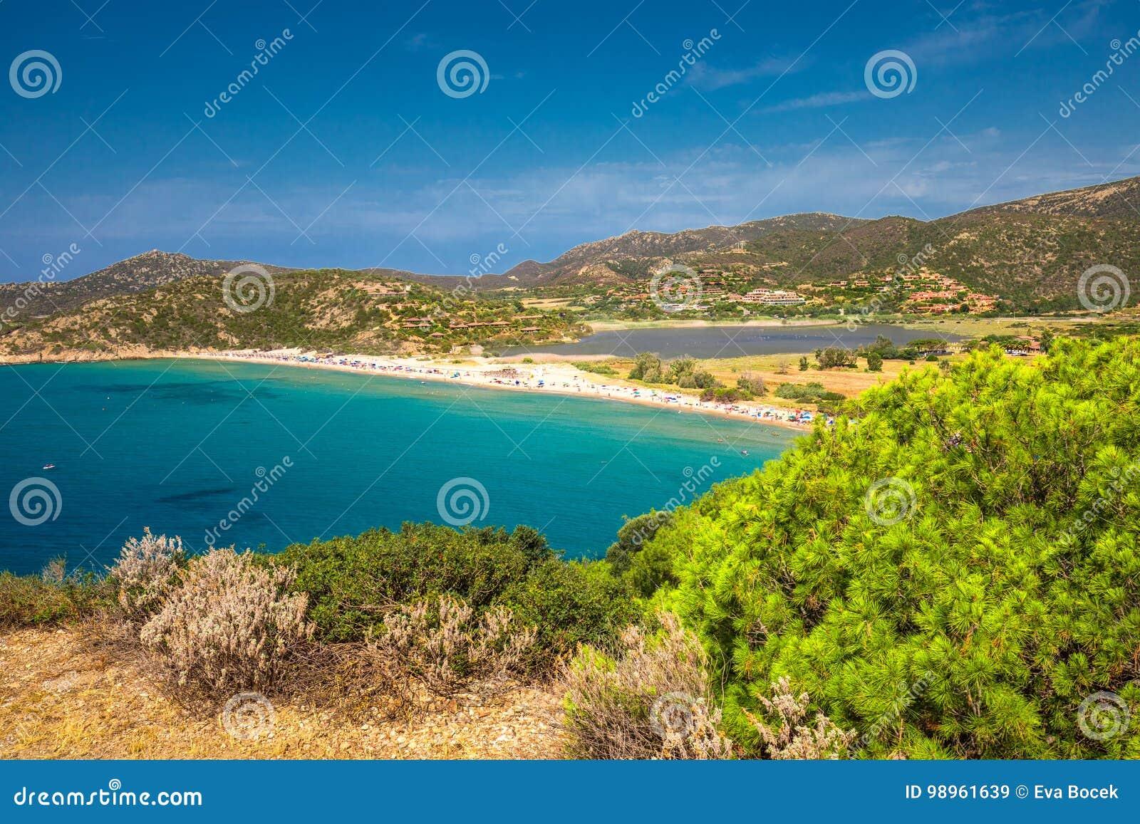 Sa Colonia Beach, Chia Resort, Sardinia, Italy Stock Image   Image ...