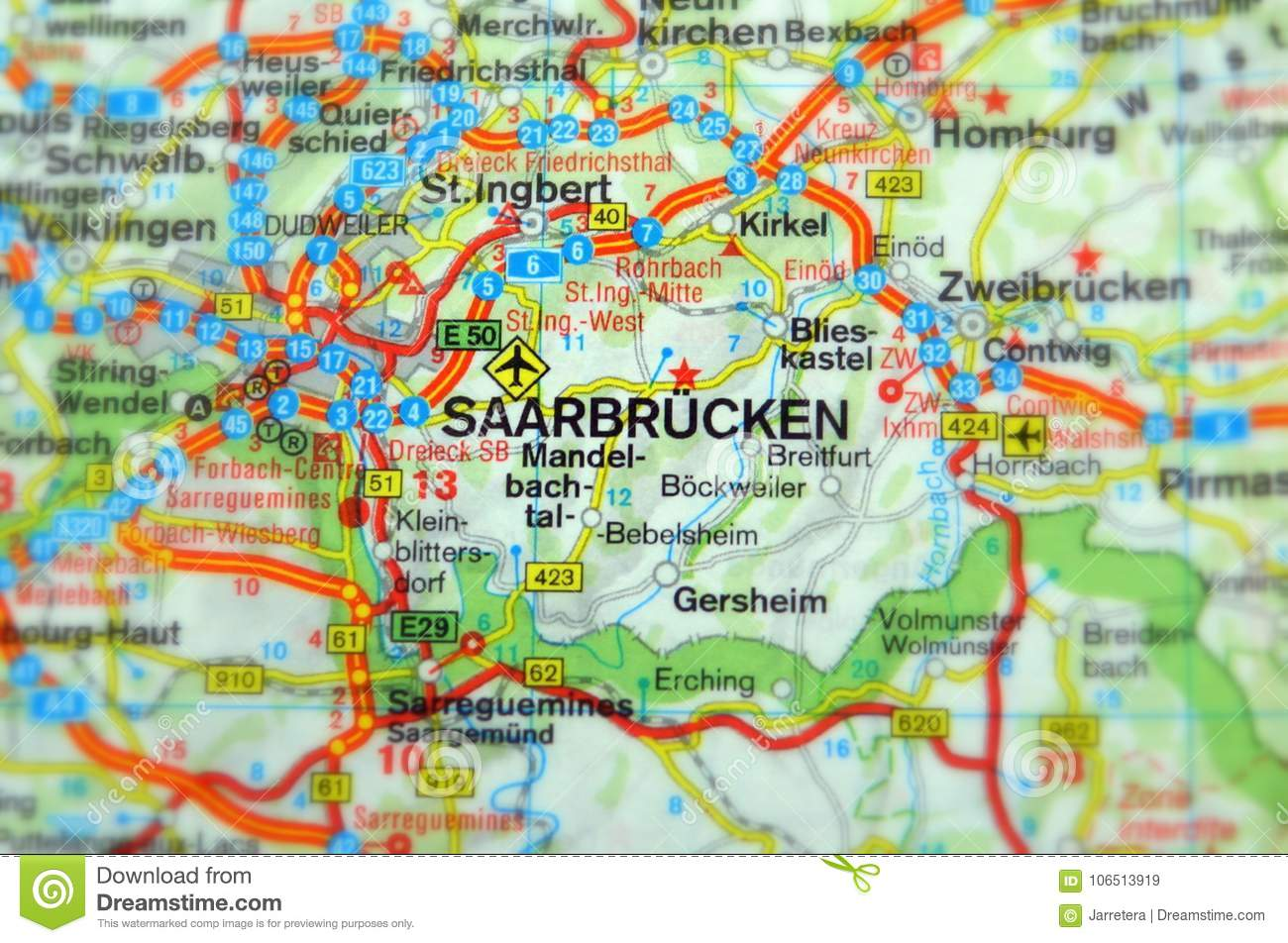 Saarbrucken Germany Map.Saarbrucken Germany Europe Stock Image Image Of Geography