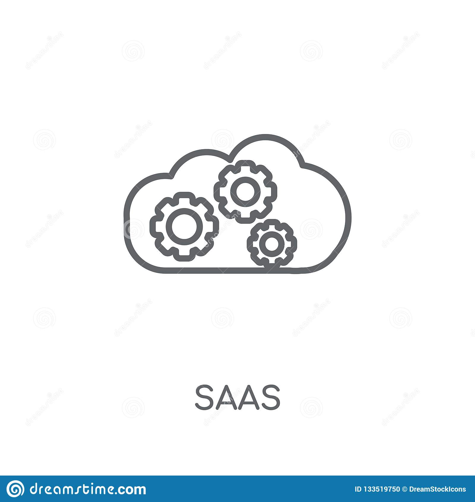 saas linear icon. Modern outline saas logo concept on white back