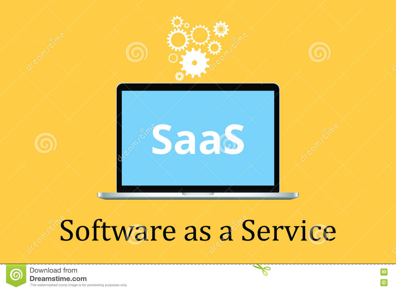 Saas software as a service concept with laptop and poster text gear icon