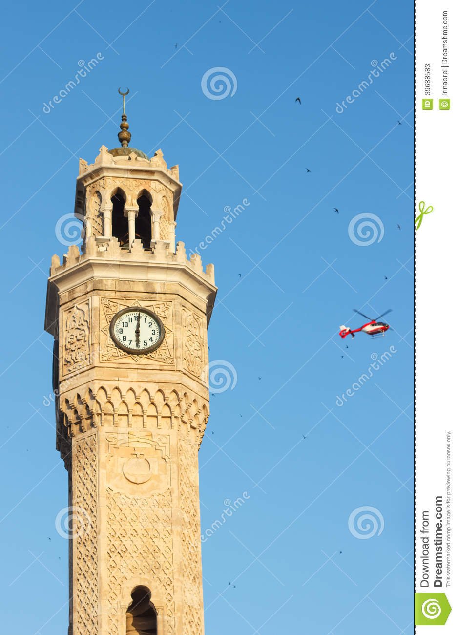 Saat Kulesi (Clock Tower) and helicopter