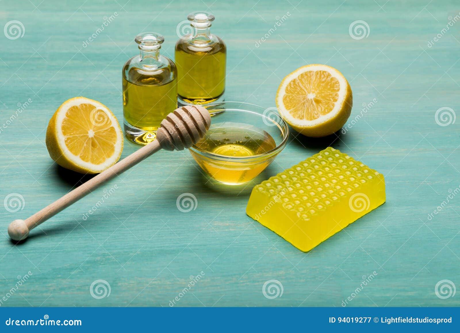 Sabão Caseiro Do Mel Limão óleo Essencial E Mel Com Dipper Do Mel