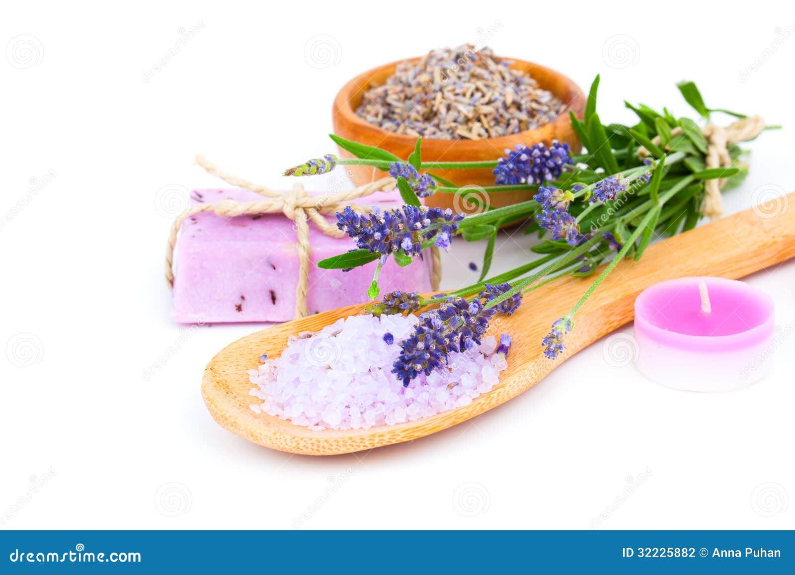 Download Sabão Da Alfazema, Sal De Banho E Vela Foto de Stock - Imagem de orgânico, homemade: 32225882