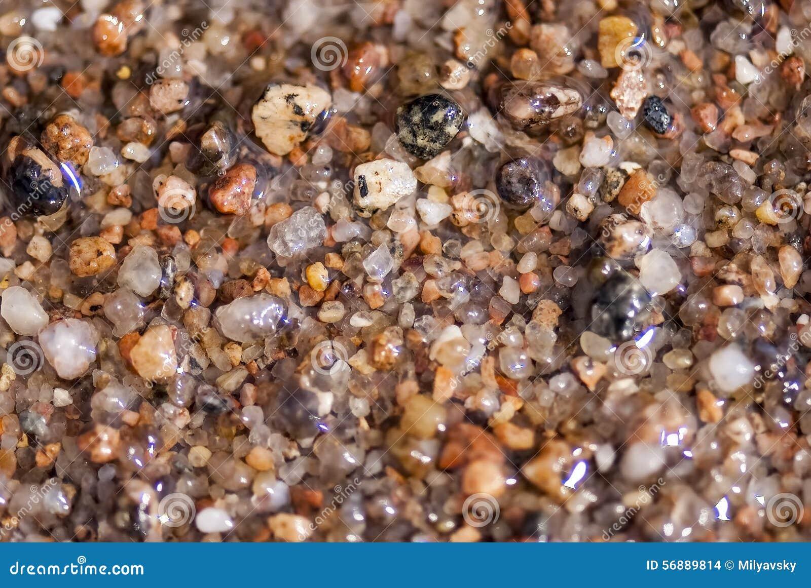 Sabbia di mare bagnata o ciottoli minuscoli, macro vista