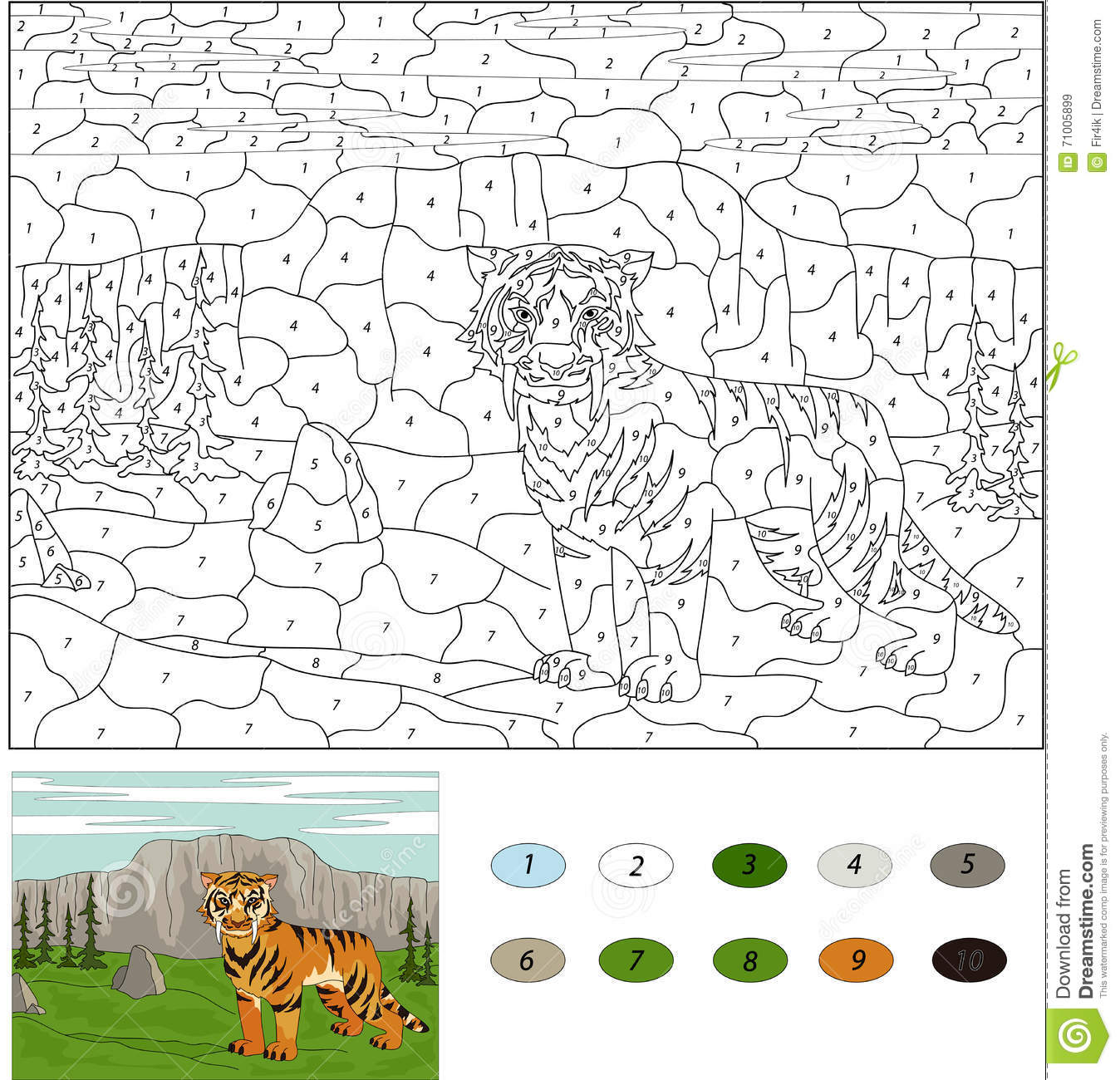 color by number educational game for kids cartoon tiger vector