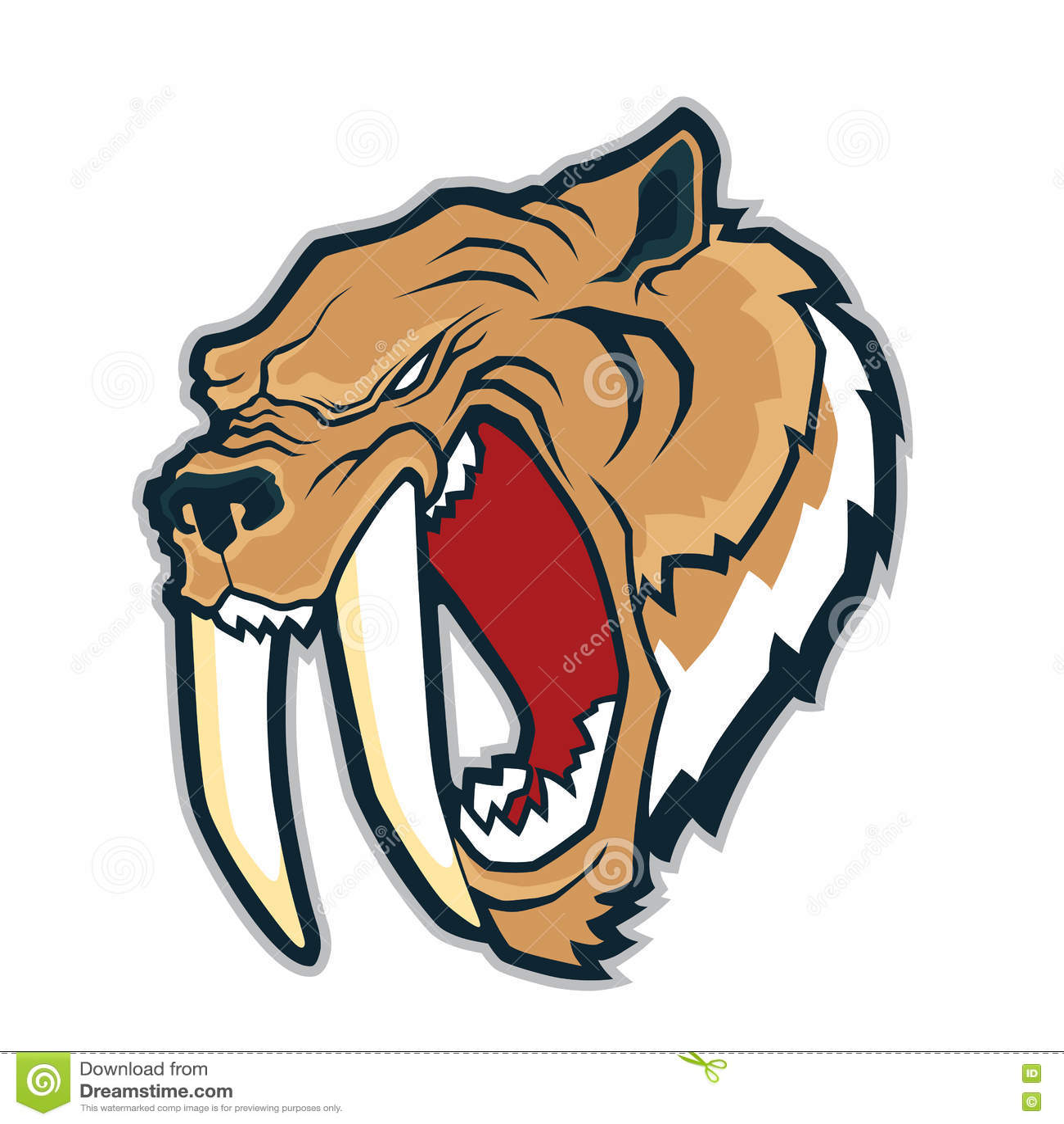 78215b0a4 Clipart picture of a sabertooth tiger head cartoon mascot character