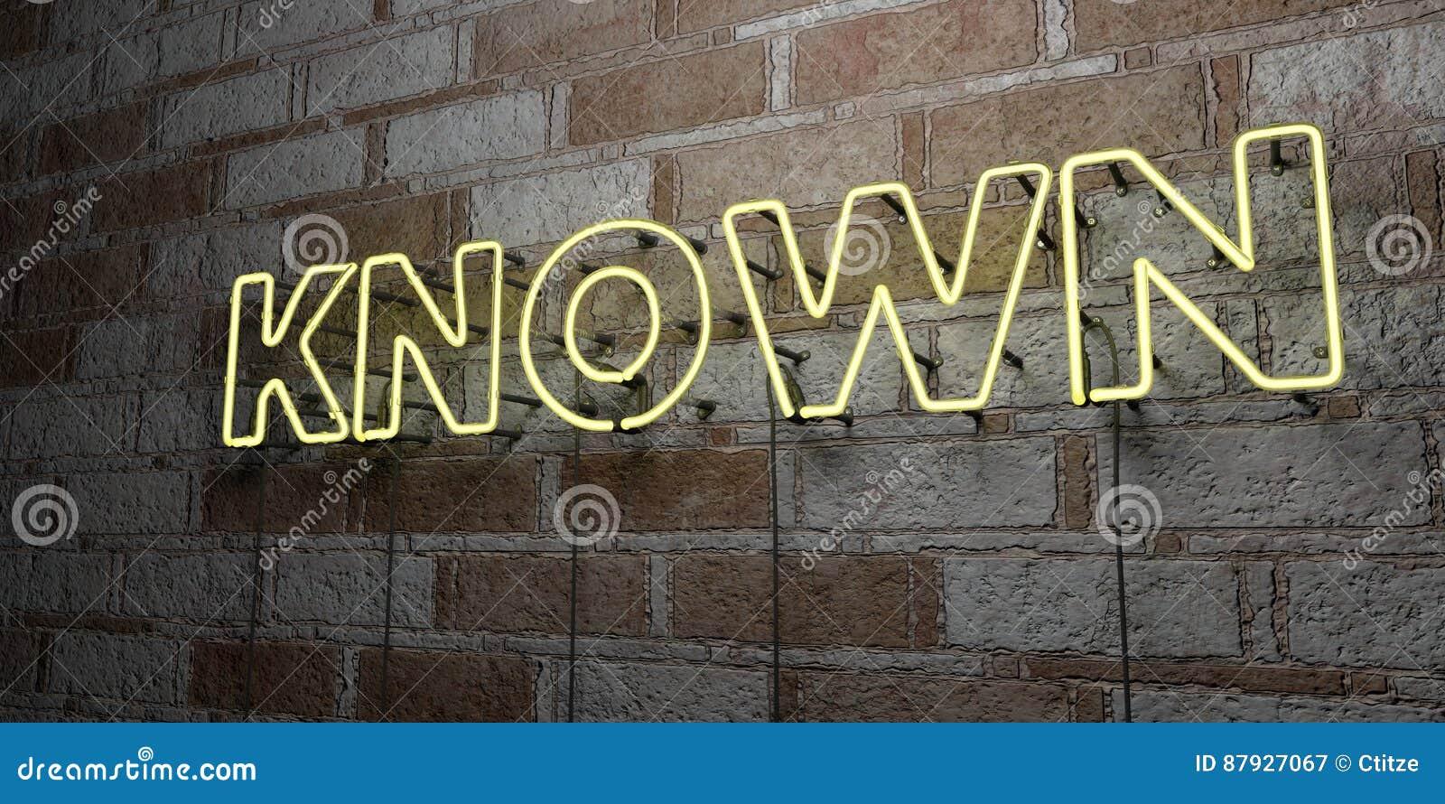 SABIDO - Señal de neón que brilla intensamente en la pared de la cantería - 3D rindió el ejemplo común libre de los derechos