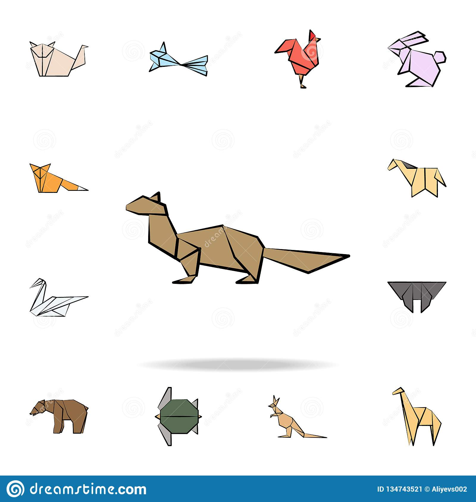 sable colored origami icon. Detailed set of origami animal in hand drawn style icons. Premium graphic design. One of the