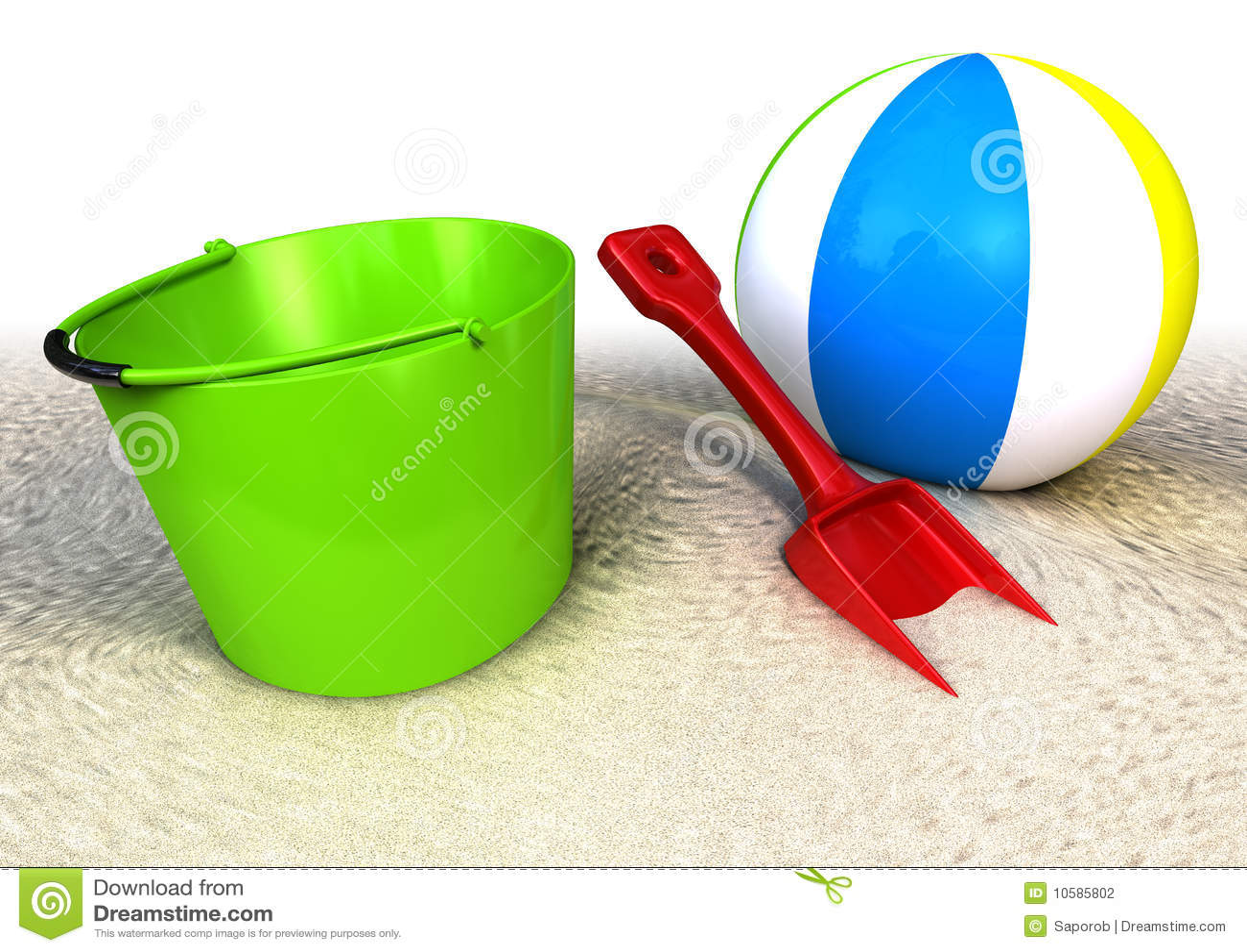 sablez la pelle et le ballon seau sur la plage. Black Bedroom Furniture Sets. Home Design Ideas