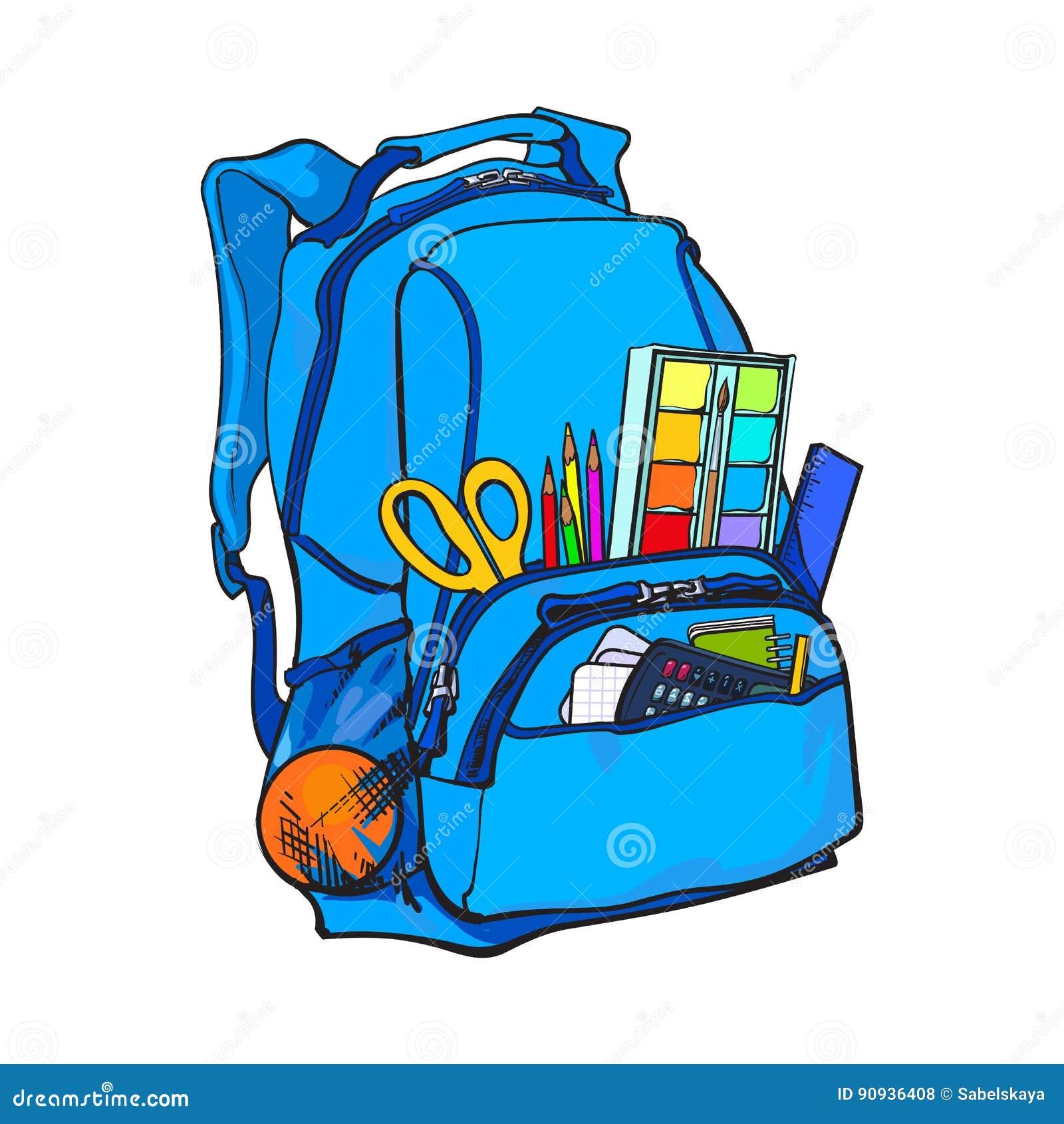 Sac à dos bleu emballé avec des articles d école, approvisionnements, objets stationnaires
