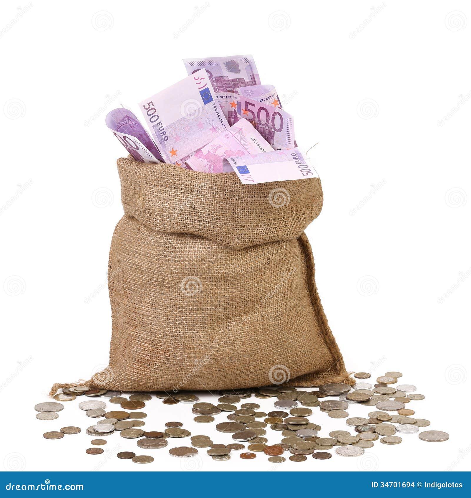 sac avec beaucoup deuro billets de banque photo stock