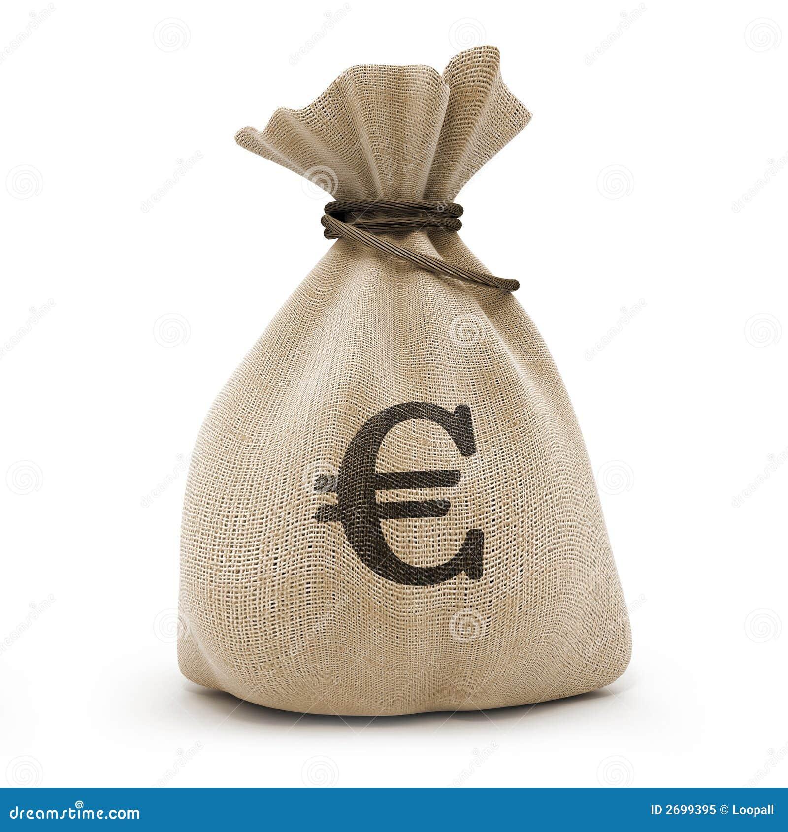 Sac avec l euro d argent
