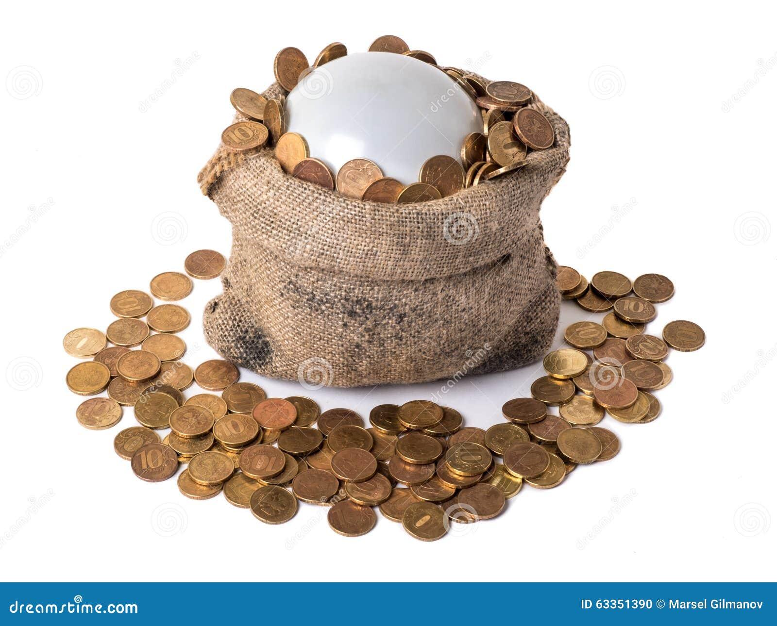 Sac avec la bulle et les pièces de monnaie