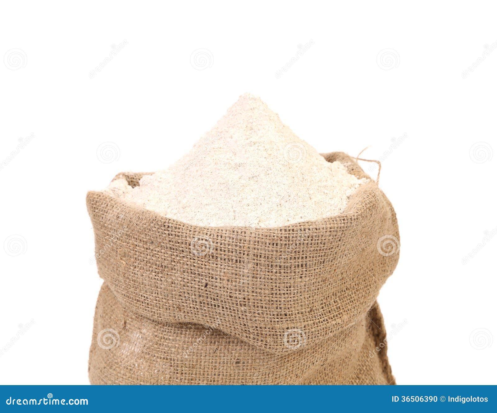 Sac avec la farine de blé.