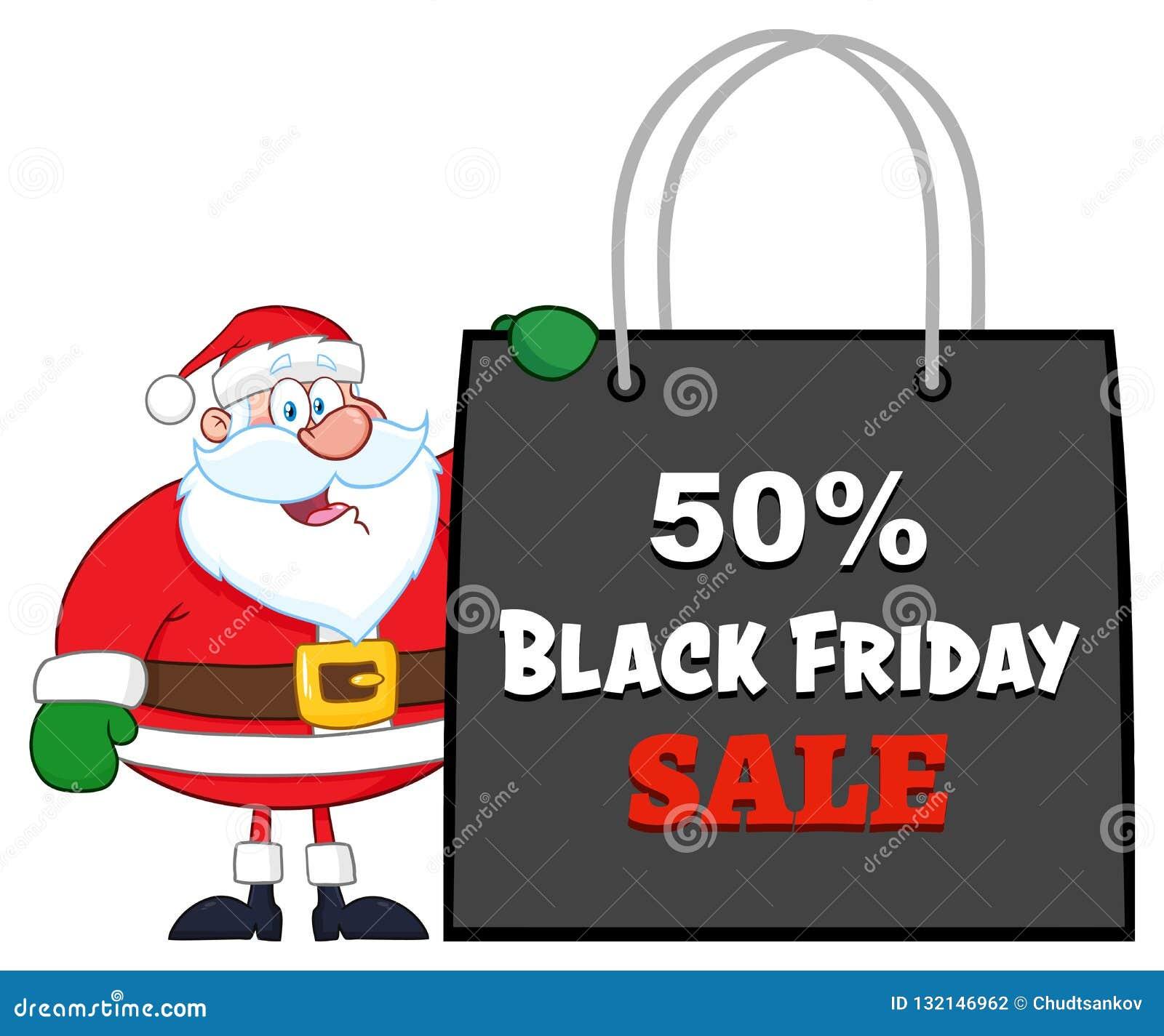 Sac Black Friday de Santa Claus Cartoon Character Showing Shopping