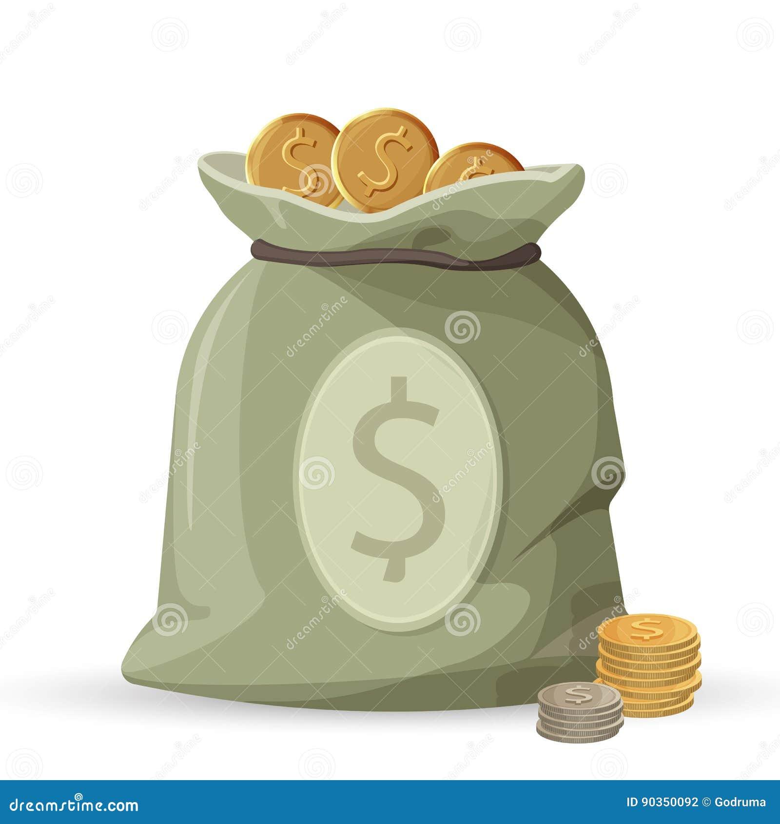 Sac d argent avec les pièces d or et en argent d isolement