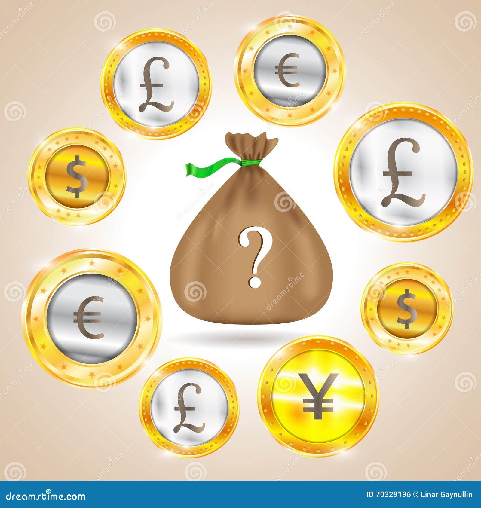 Sac D Argent Devise Le Dollar L Euro Livre Sterling