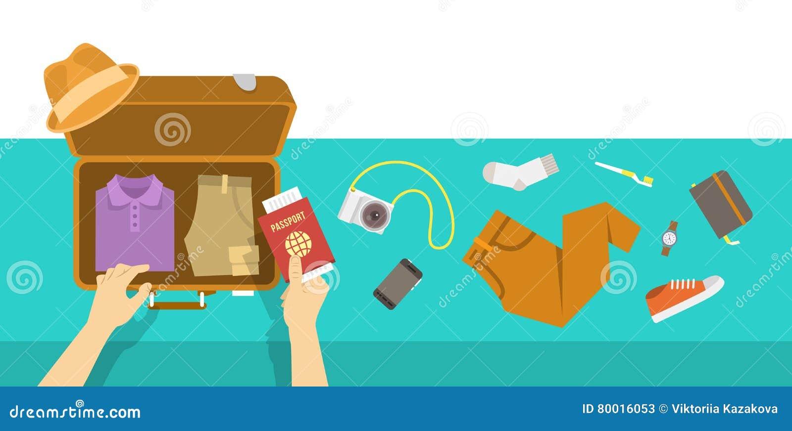 Sac d emballage pour l illustration plate de vacances de voyage