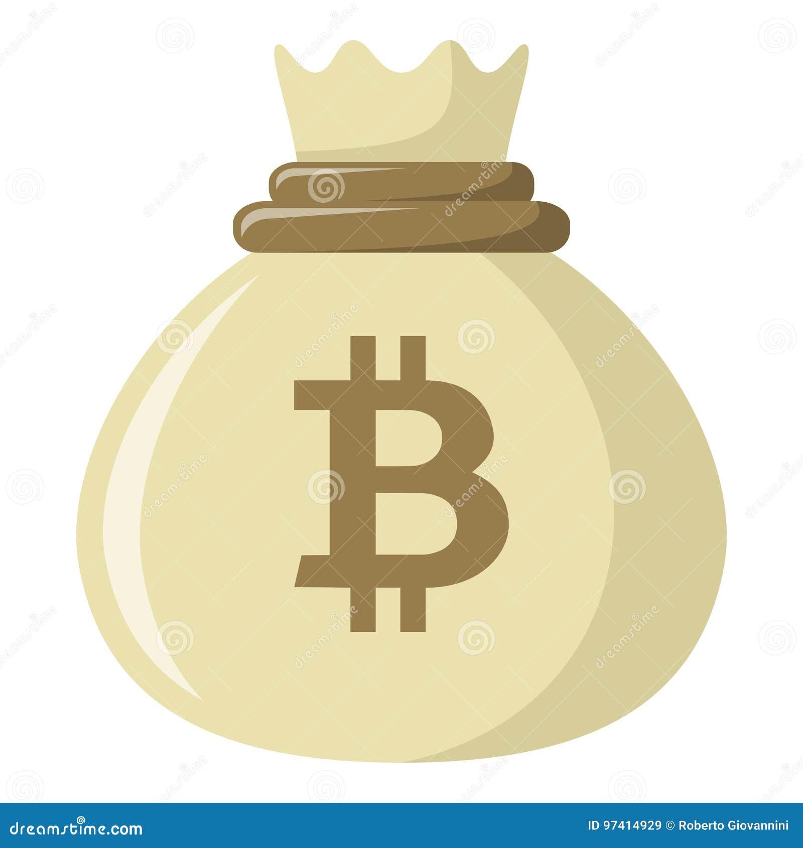 Sac d icône plate d argent de Bitcoin sur le blanc