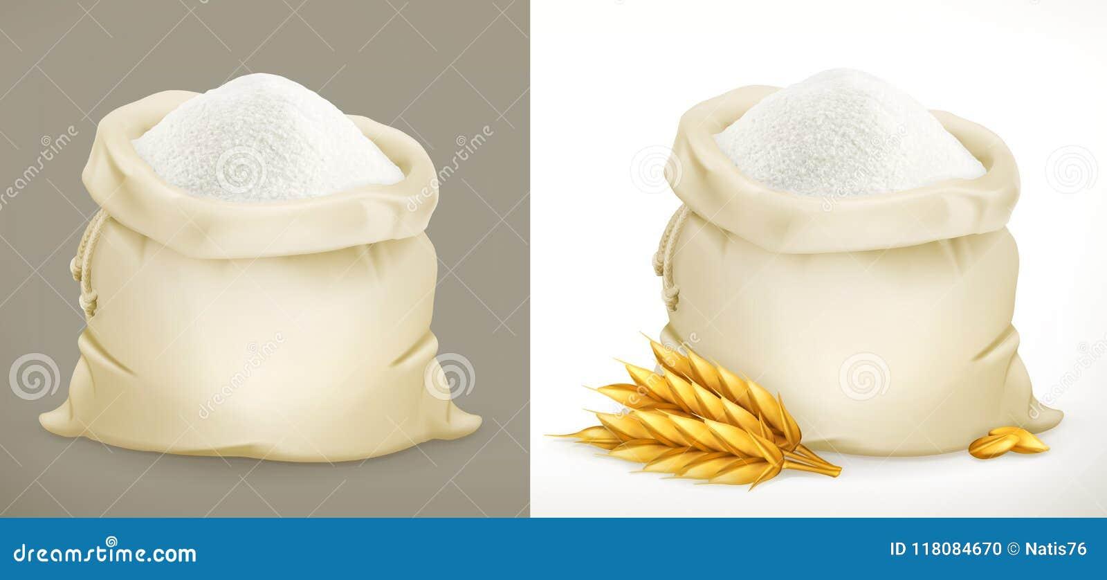 Sac de farine et de blé vecteur 3d