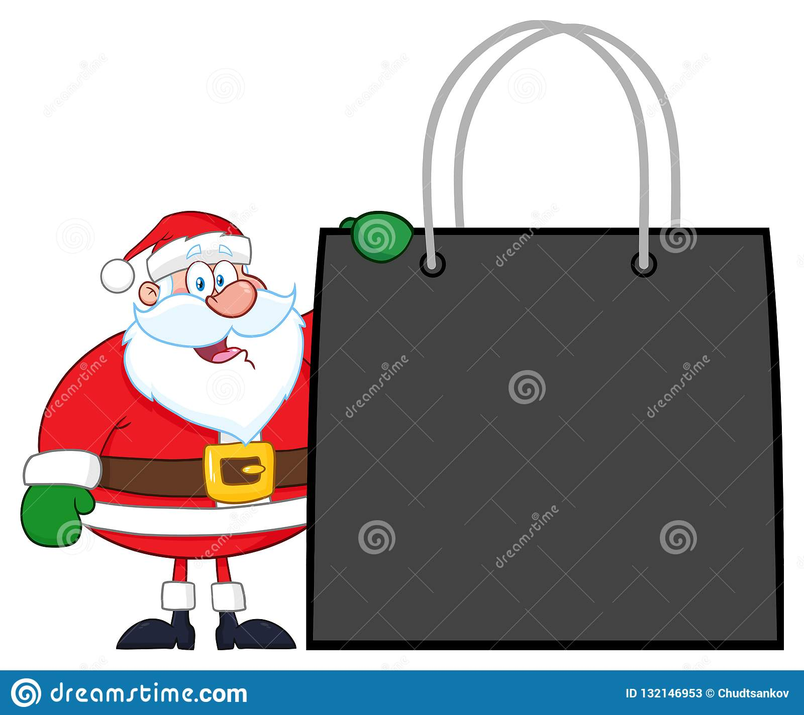 Sac de Santa Claus Cartoon Character Showing Shopping