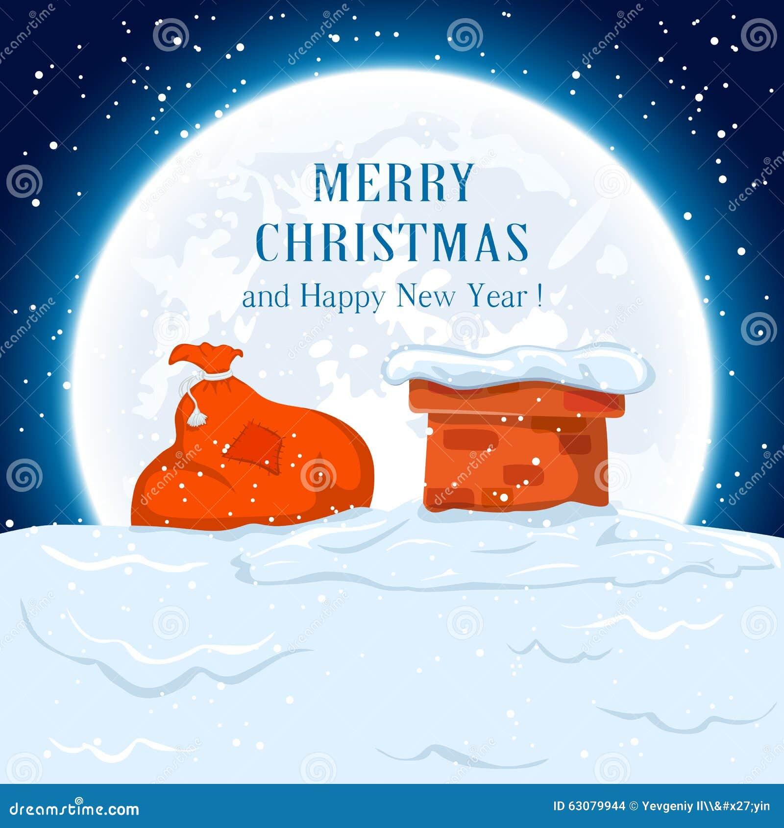 Download Sac de Santa sur le toit illustration de vecteur. Illustration du soirée - 63079944