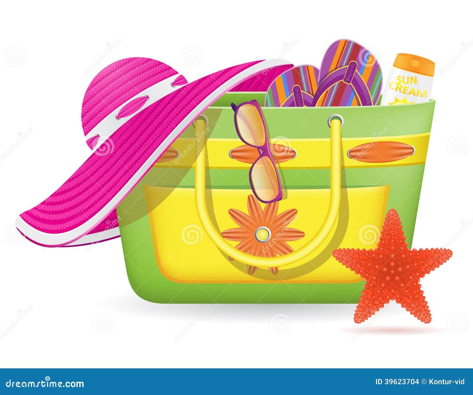 sac femelle avec l 39 illustrat de vecteur d 39 accessoires de plage illustration de vecteur. Black Bedroom Furniture Sets. Home Design Ideas