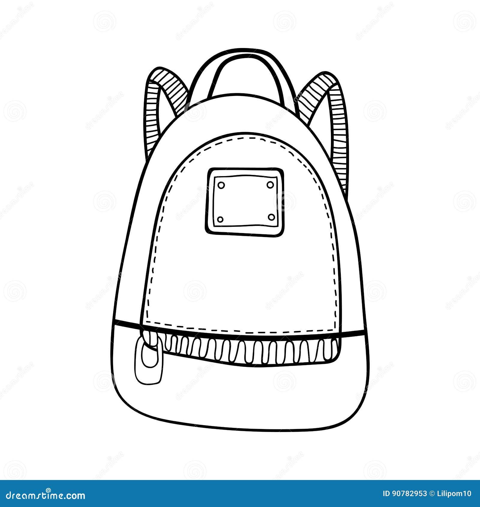 Sac sac dos accessoire de mode illustration noire et - Coloriage sac a dos ...