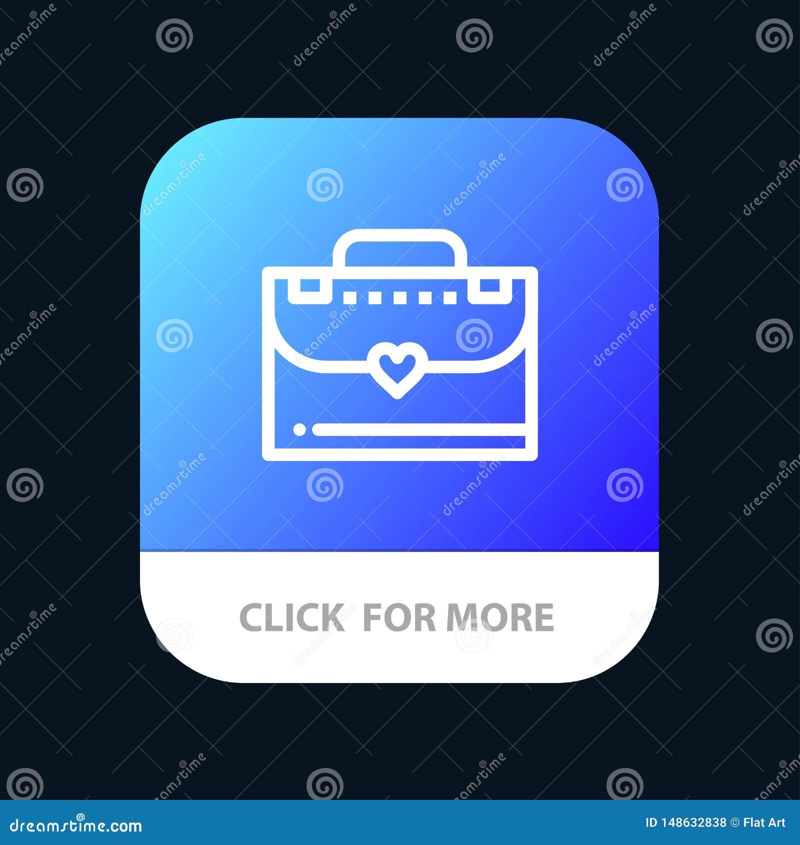 Sac, serviette, bouton mobile d appli d amour Android et ligne version d IOS