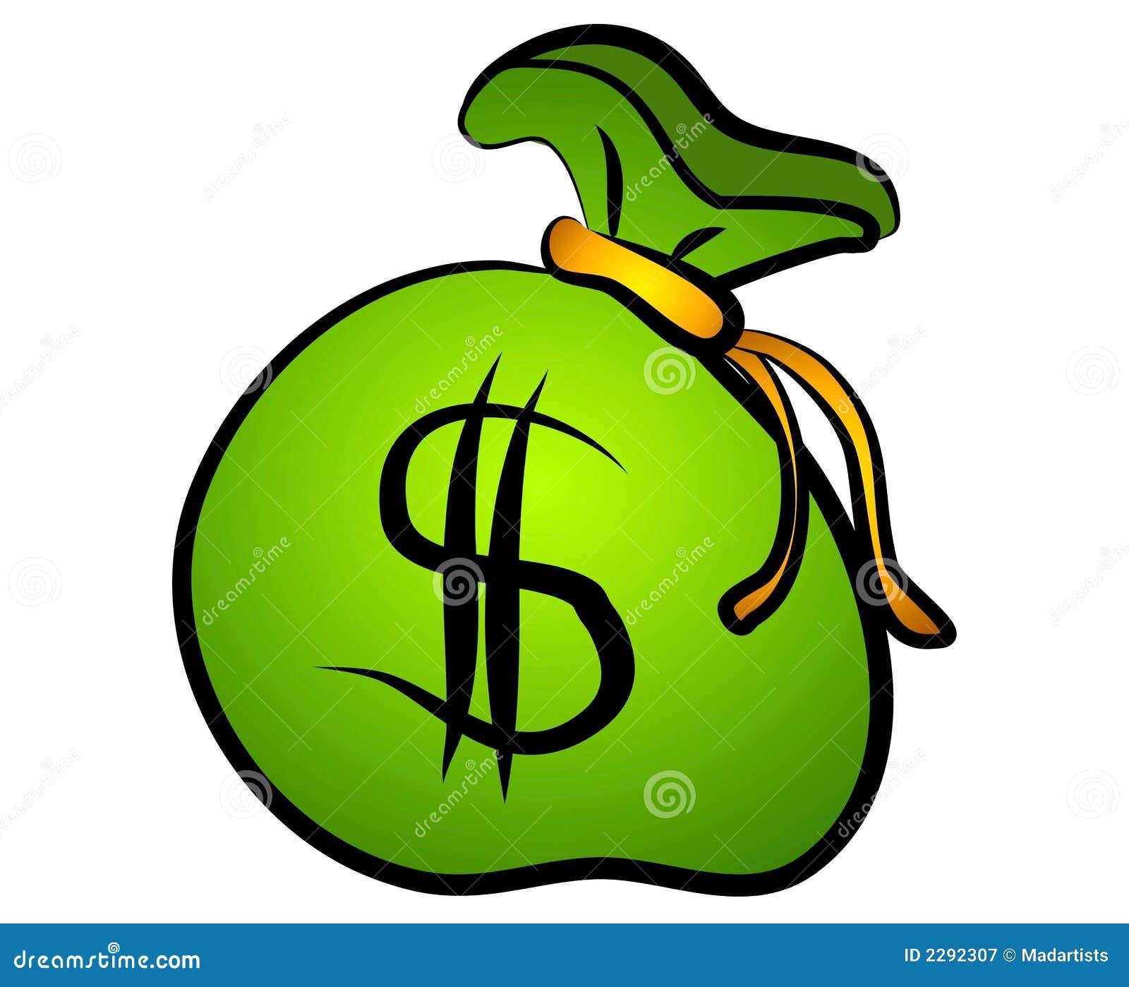 Photographie stock libre de droits: Sac vert de signe du dollar d ...