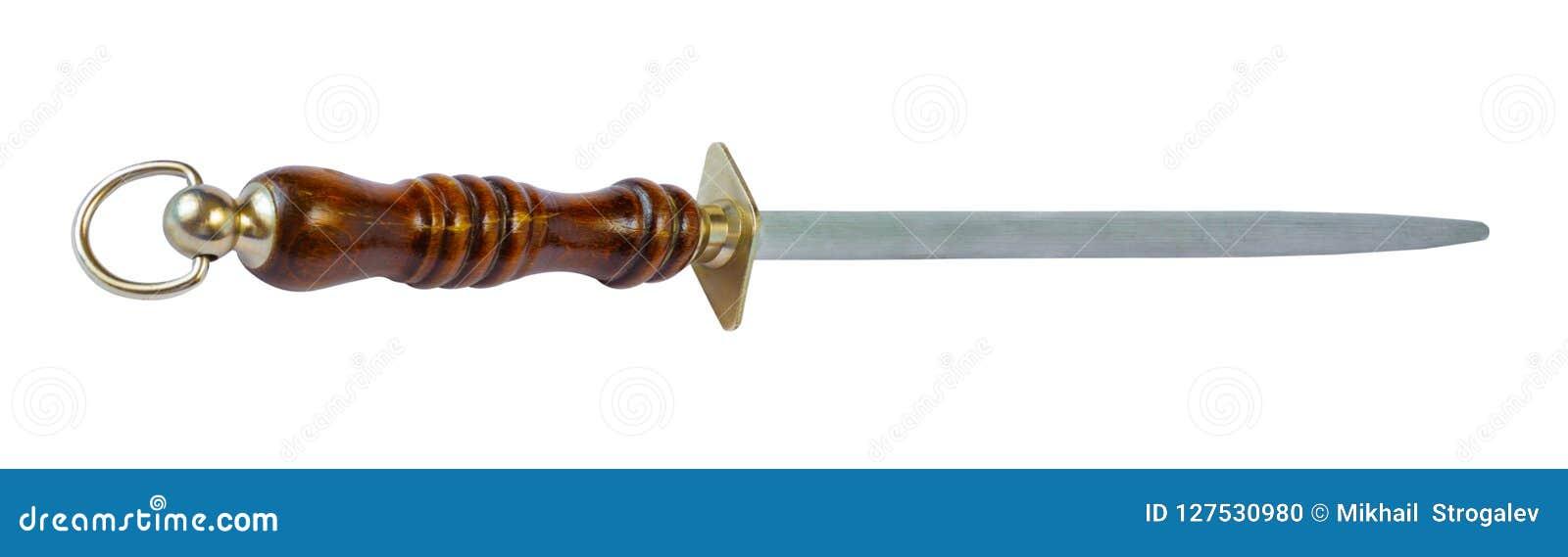 Sacapuntas de cuchillo con una manija de madera marrón, aislada