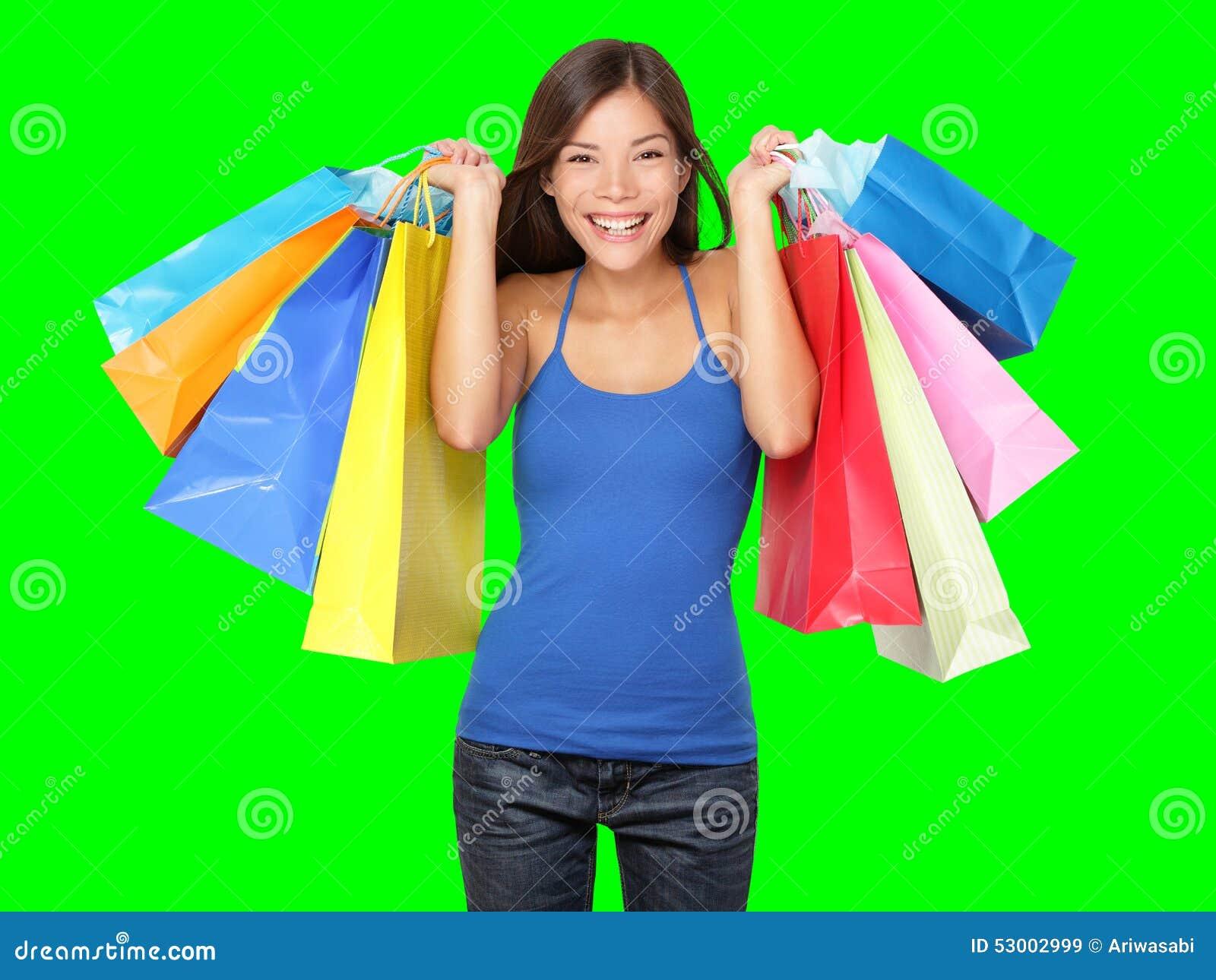 Sacchetti di acquisto della holding della donna del cliente