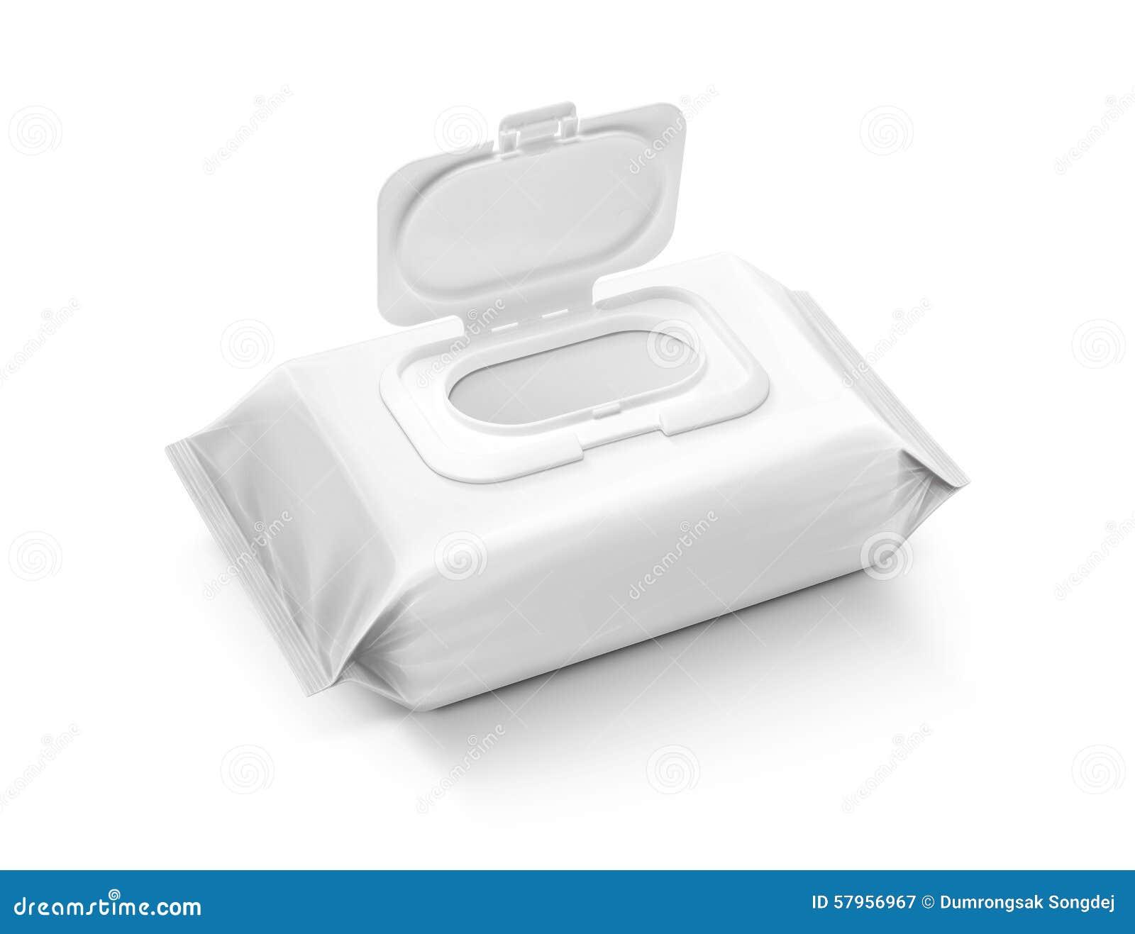 Sacchetto bagnato d imballaggio in bianco delle strofinate isolato su fondo grigio