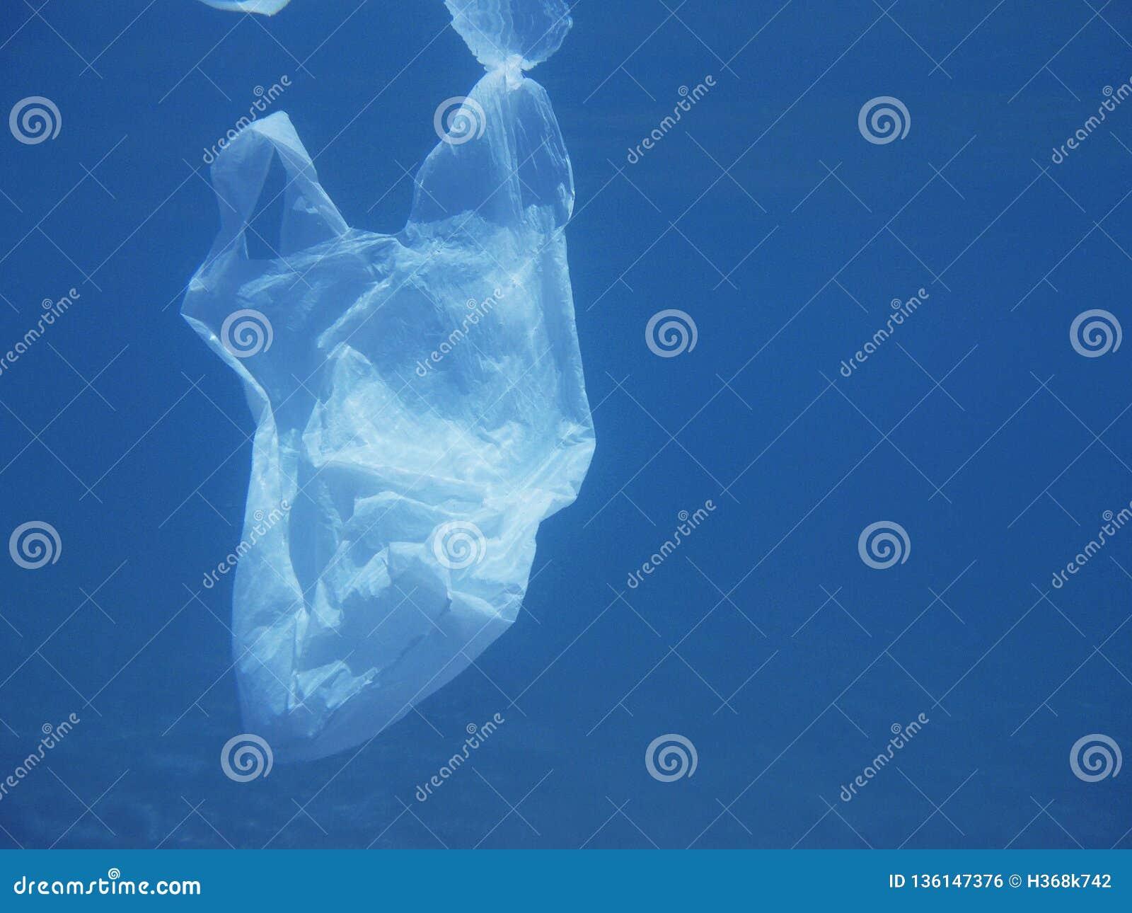 Sacchetto di plastica che galleggia nel mare Ambientale inquinante Ricicli