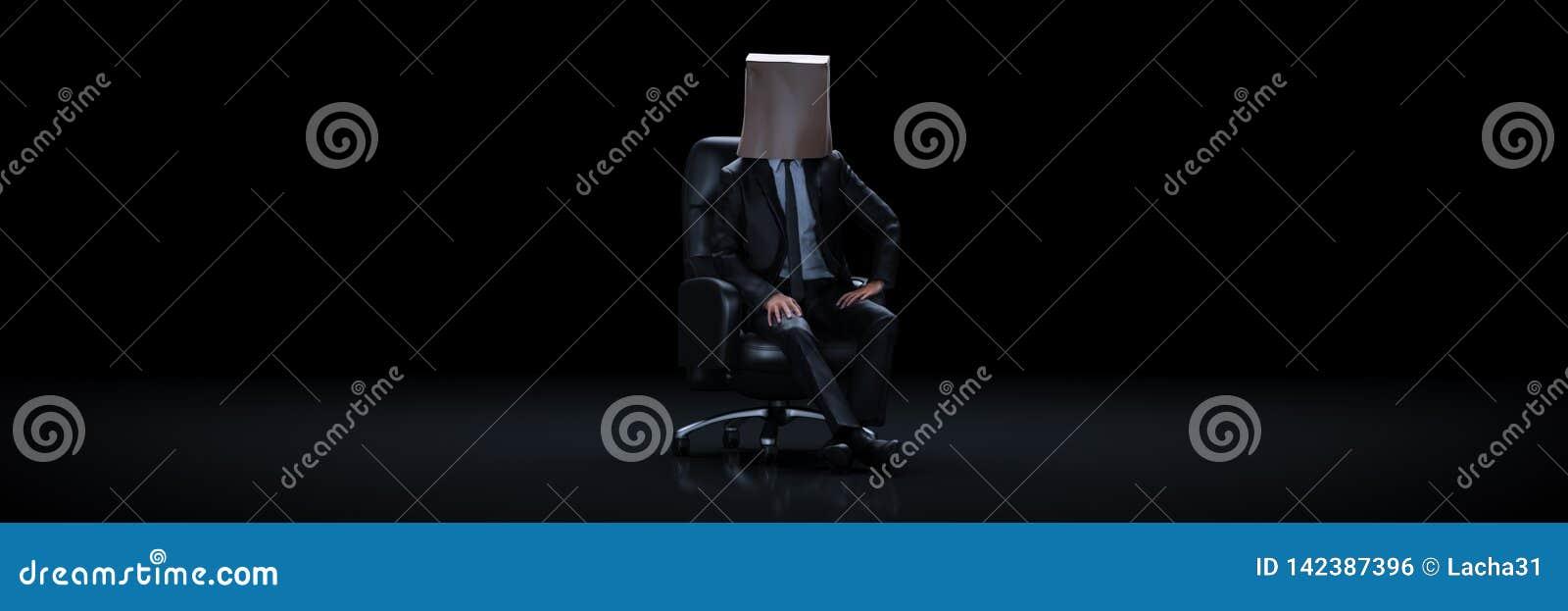 Sacco di carta da portare dell uomo d affari 3d