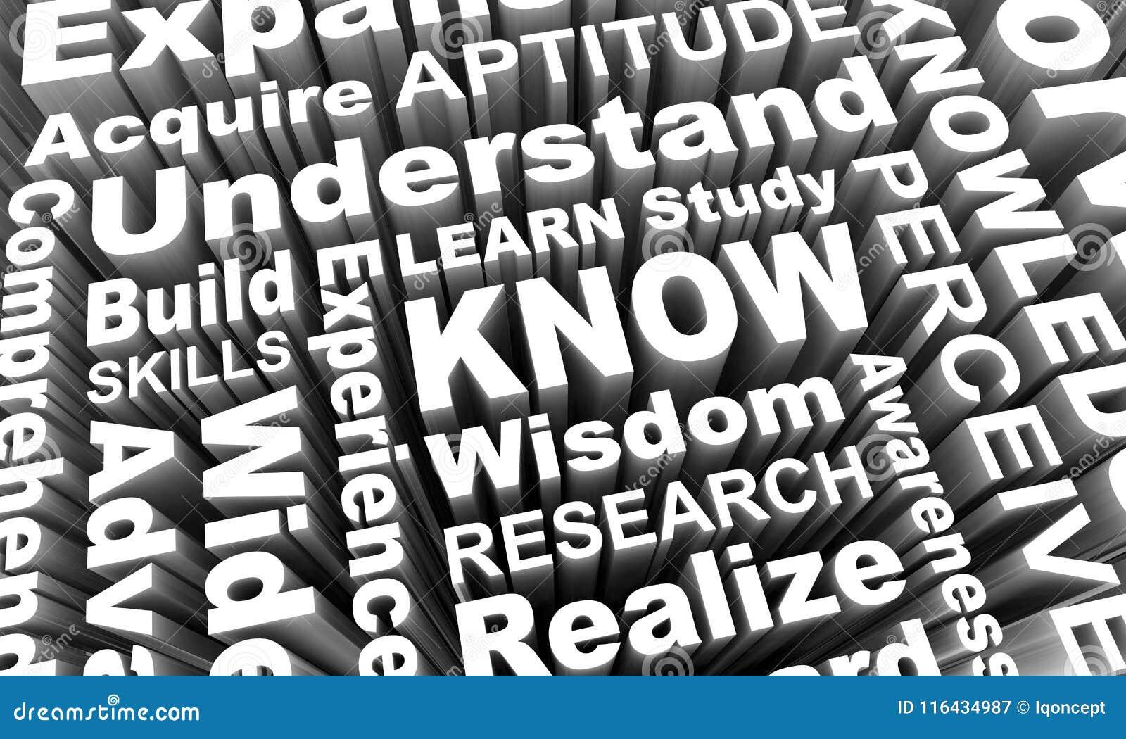 Sachez apprennent que les mots 3d de la connaissance de sagesse d éducation rendent Illustrati
