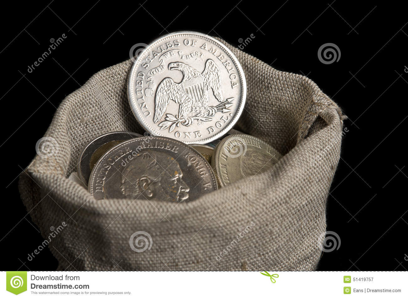 Sack Bag With Old Silver Coins Stock Image Image Of Cash