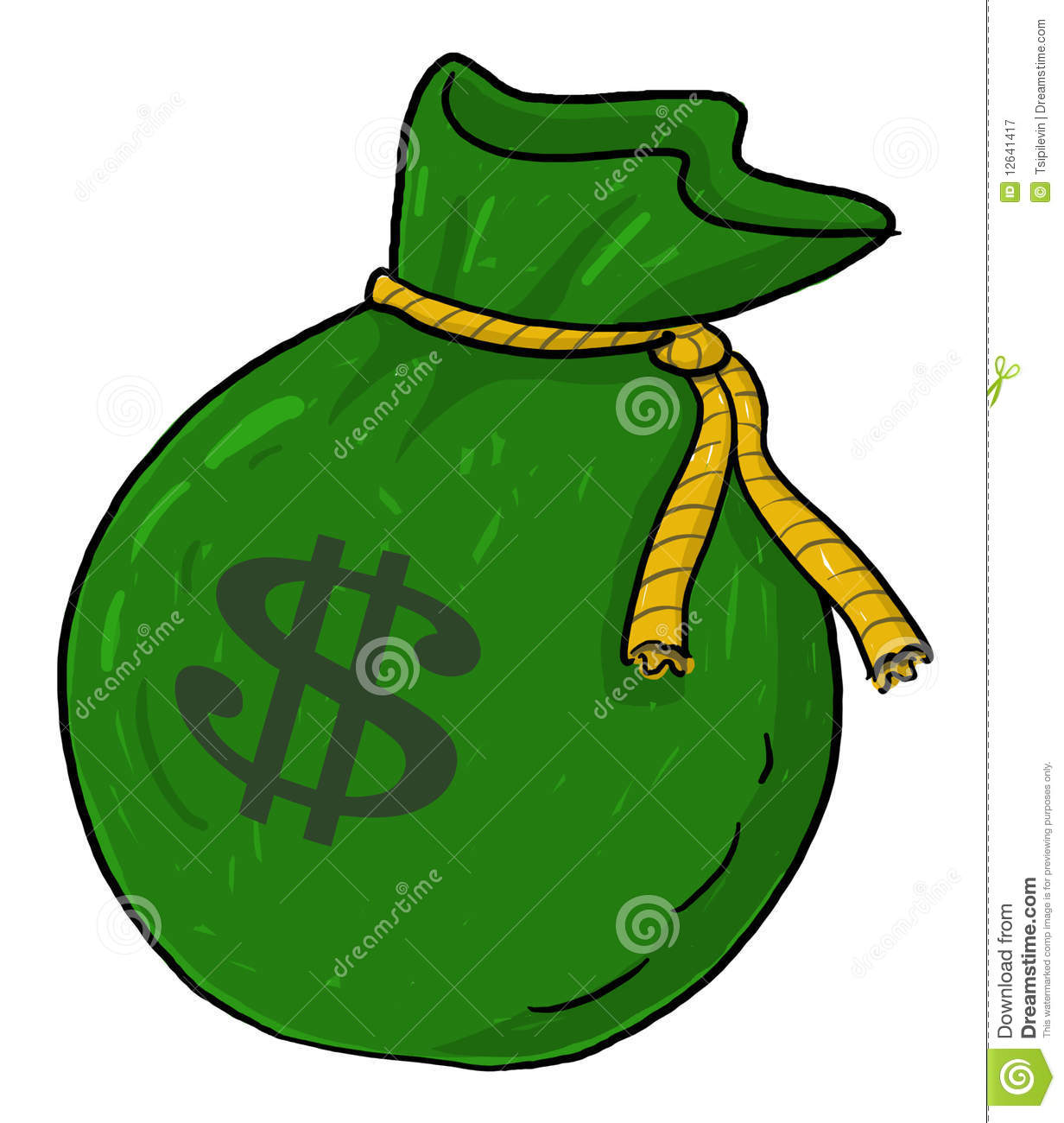 Bag With Money Sign Cartoon: Money Sack Illustration With Dollar Sign Royalty Free