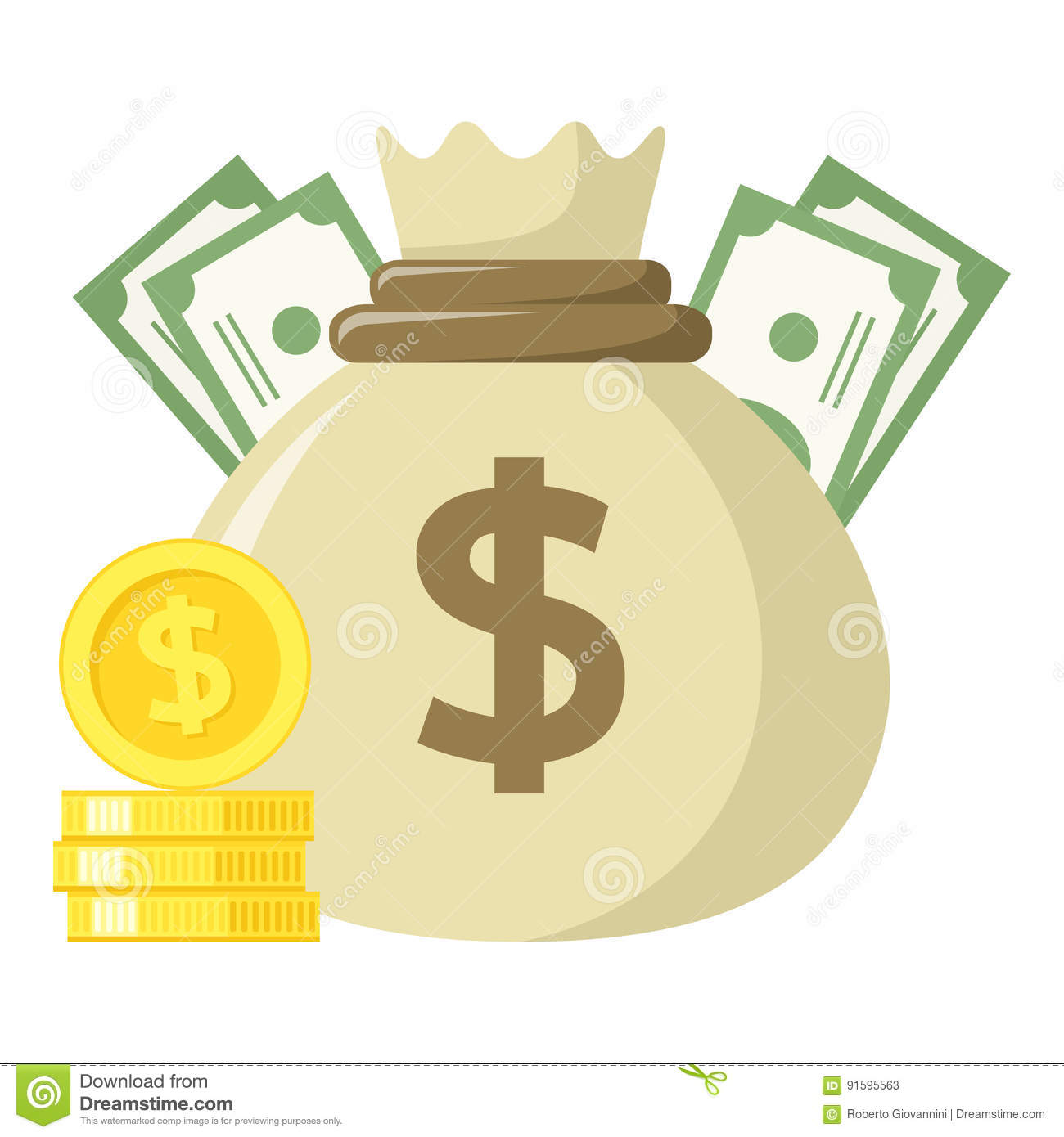 Sack Of Money & Stack Of Coins Flat Icon Stock Vector ...