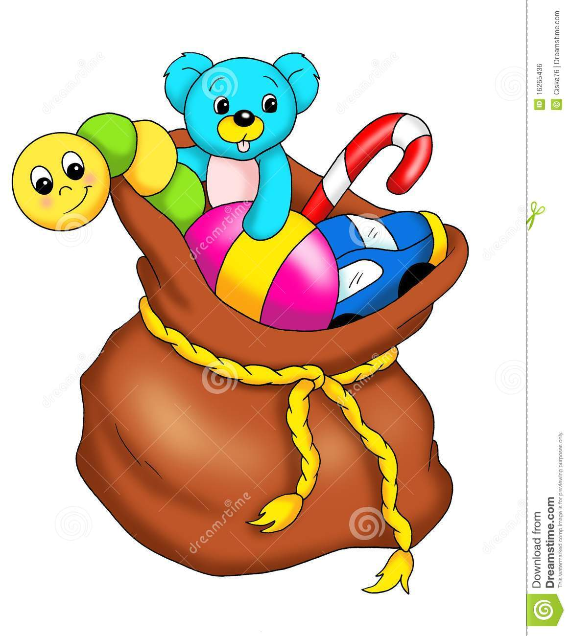 Sack Of Toys : Sack with toys royalty free stock image