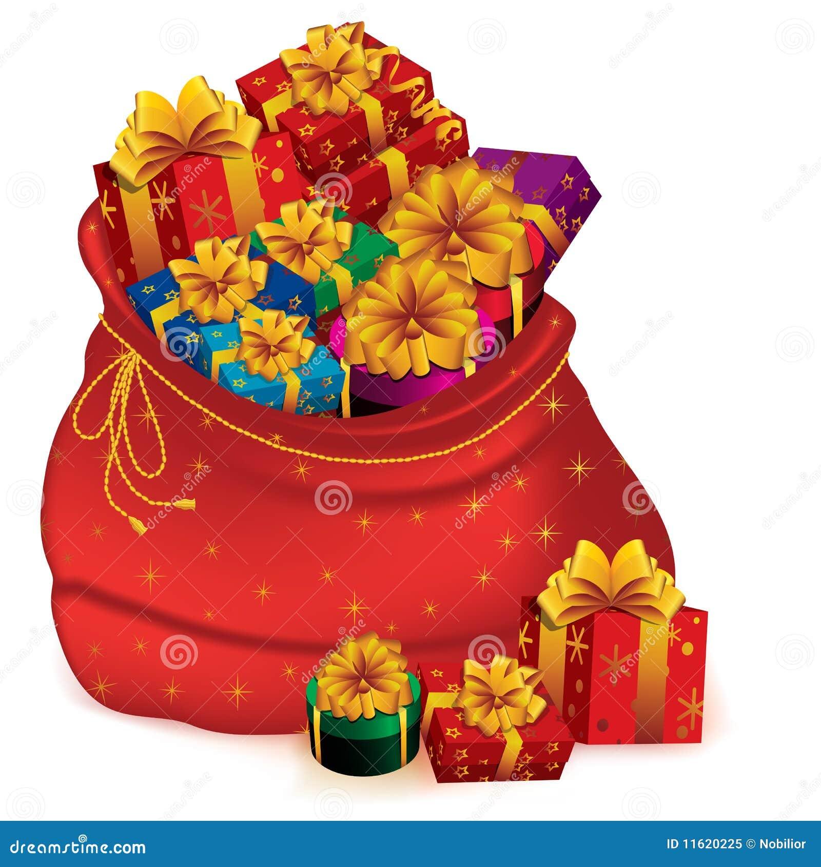 Weihnachtsgeschenke Sack.Sack Voll Geschenke Vektor Abbildung Illustration Von Vorabend
